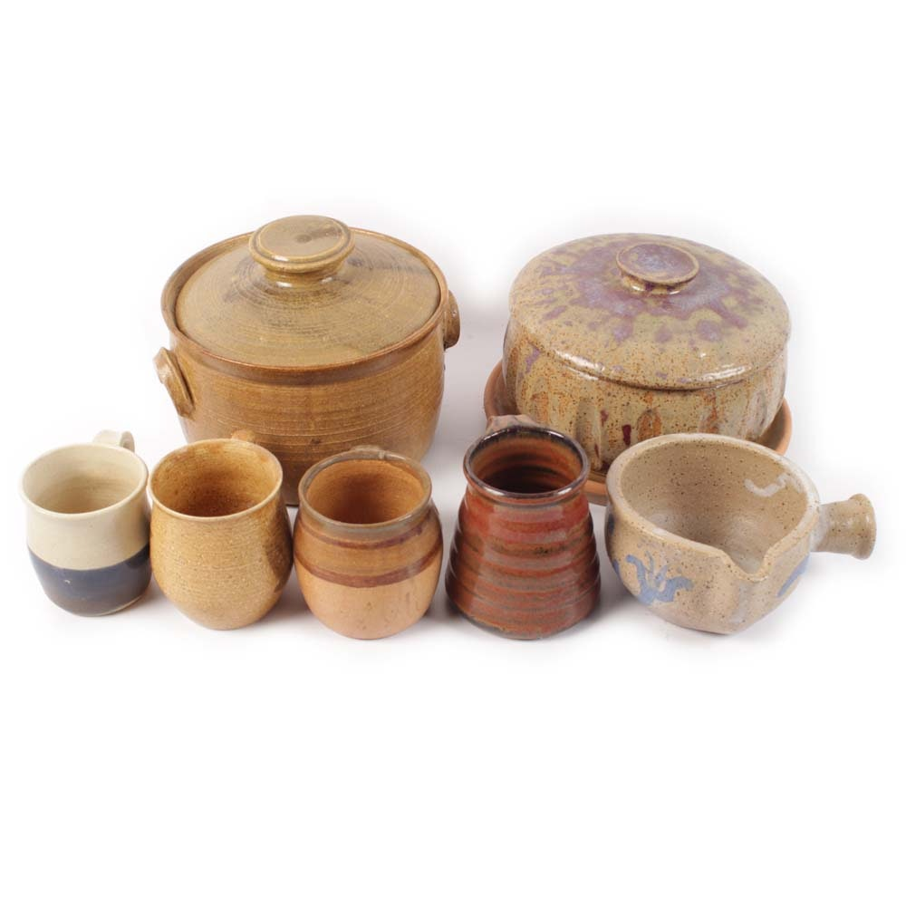 Signed Hand Thrown Stoneware Kitchenware Featuring Brown Pottery