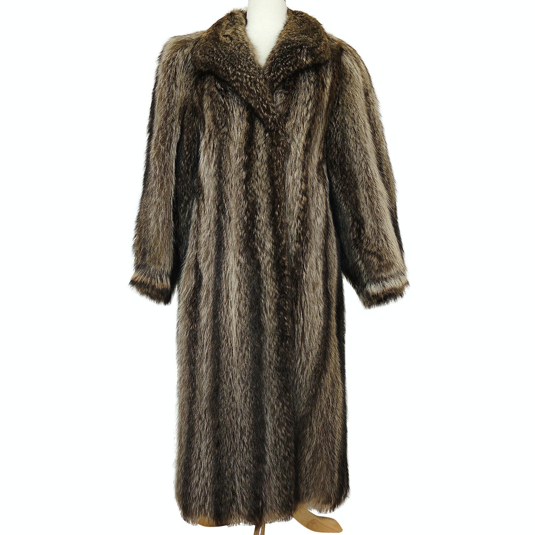 Vintage Parisian Raccoon Fur Coat