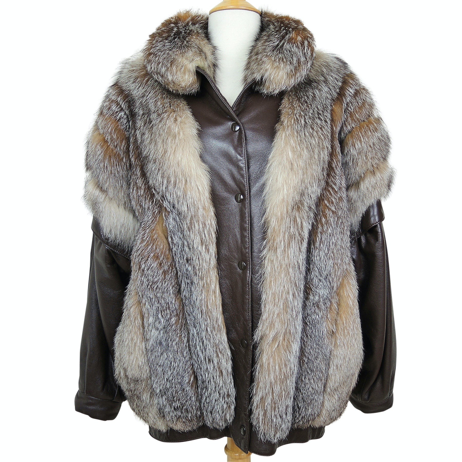 Vintage Gidding Jenny Crystal Fox Fur and Leather Convertible Jacket Vest