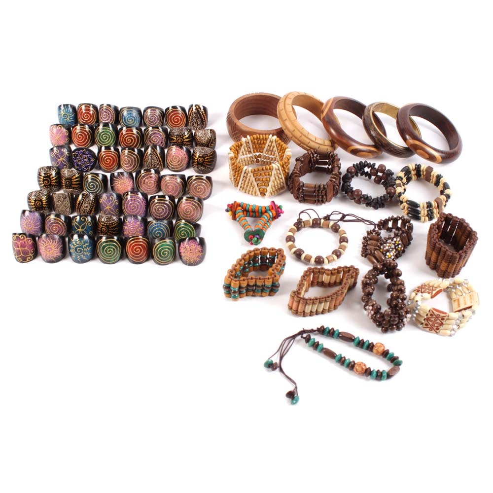Wooden Bracelet and Ring Assortment