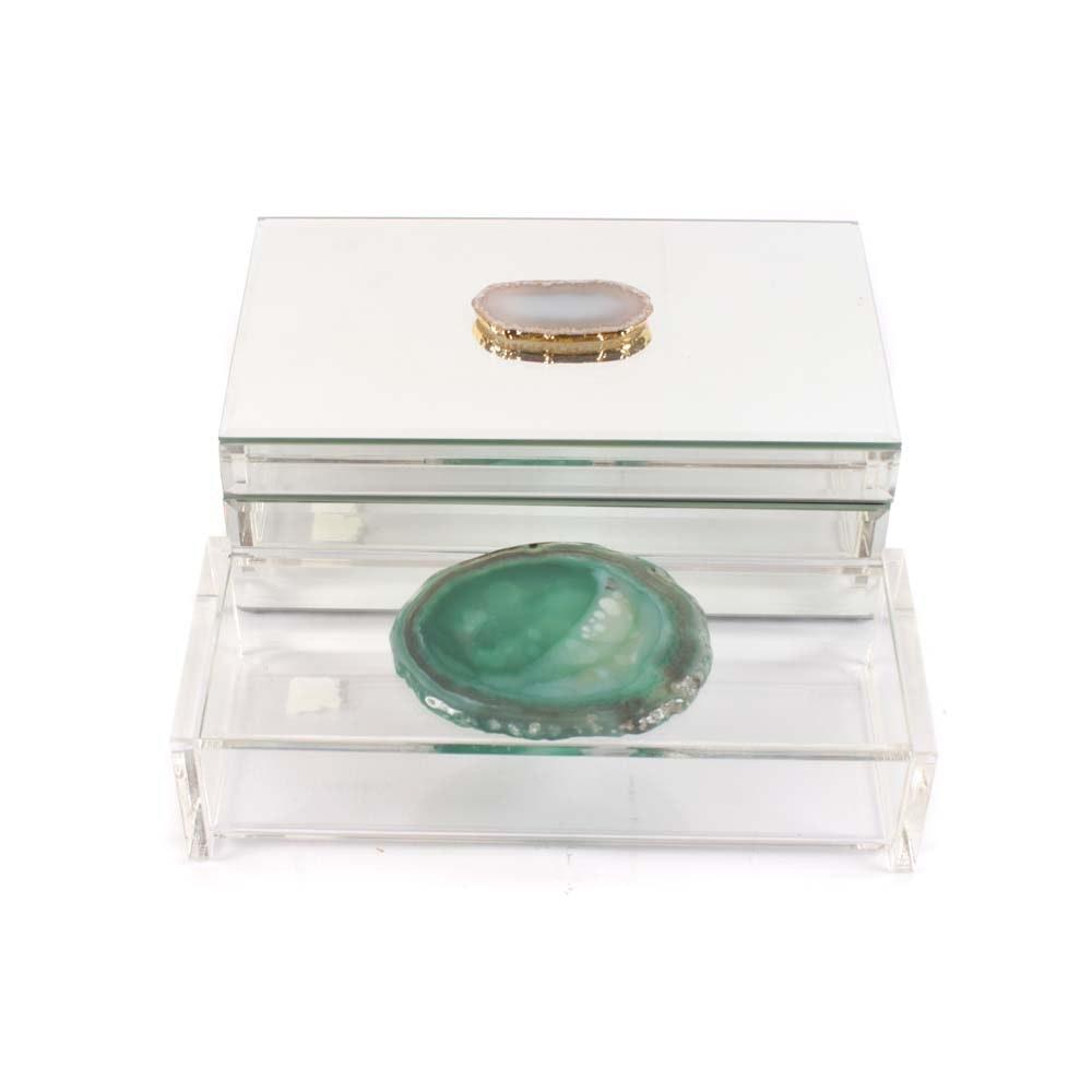 Agate Slice Decorative Boxes Featuring Tahari