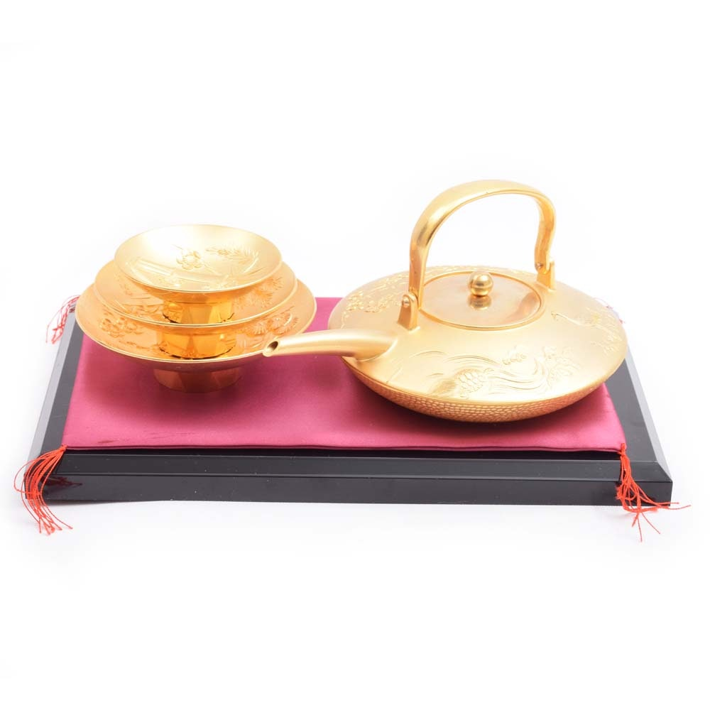 Japanese Gold 24KGP Tea Set with Stand