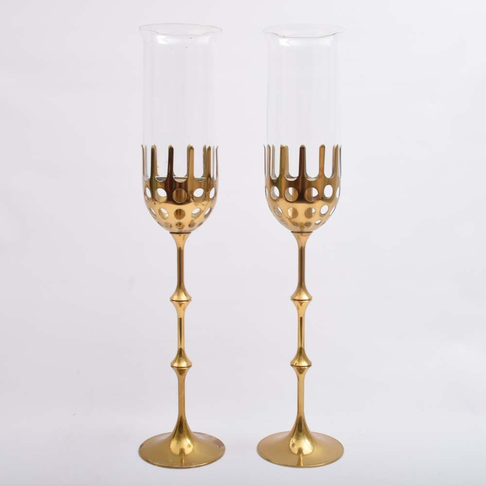 Pair of Brass Signed Candle Holders with Glass Cover Hurricanes