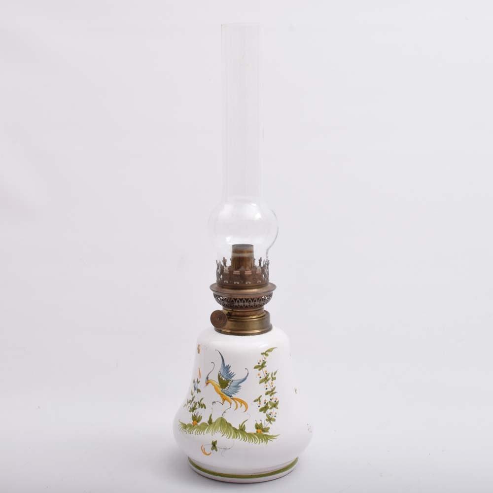 Antique Moustiers Decorated Porcelain Faience  Oil Lamp