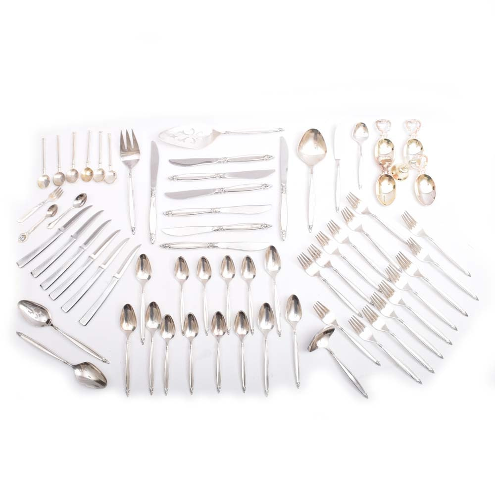 """Plated Silver Flatware Set Featuring Rogers Brothers """"Garland"""""""
