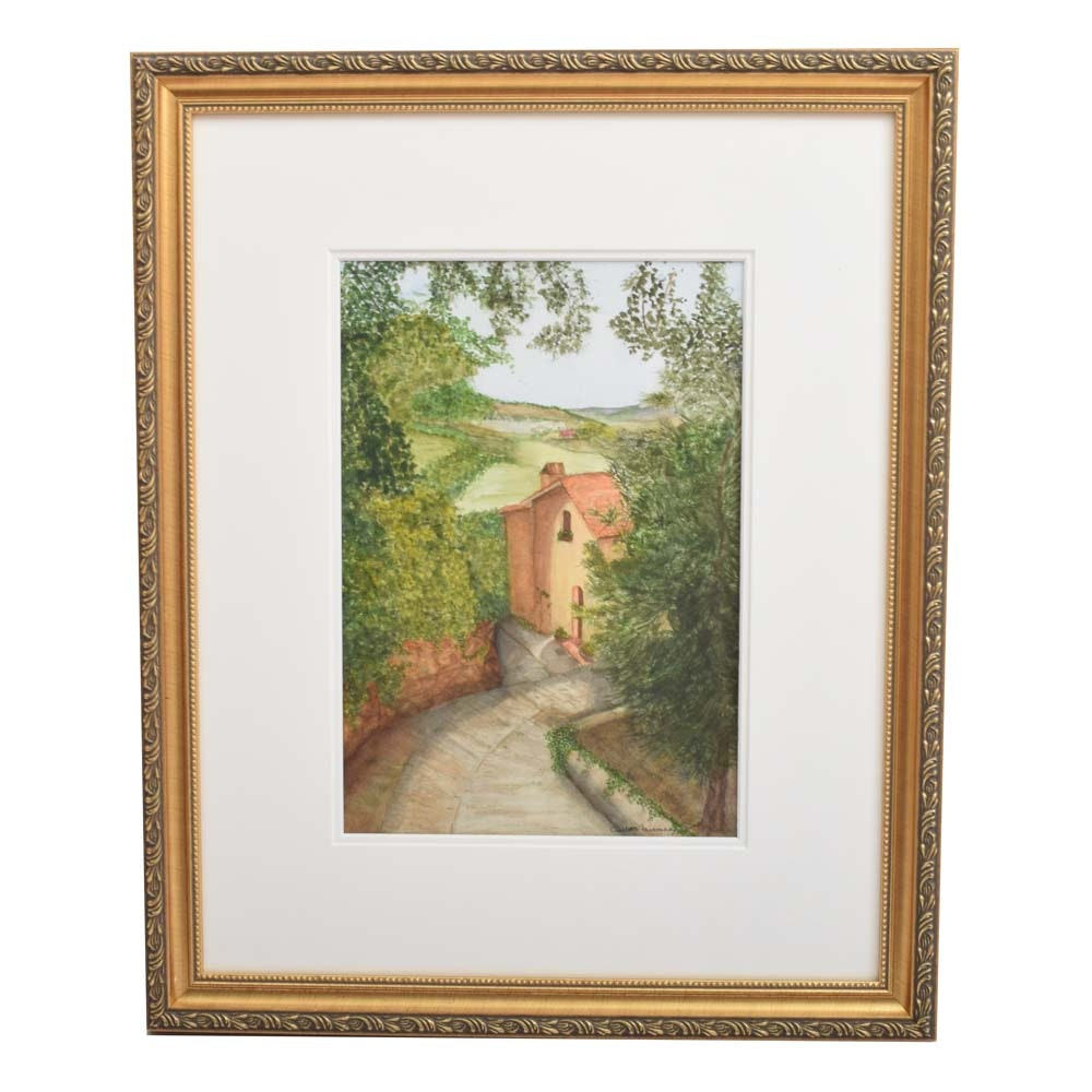 Signed Charlotte Fairman Frame Watercolor Painting on Paper