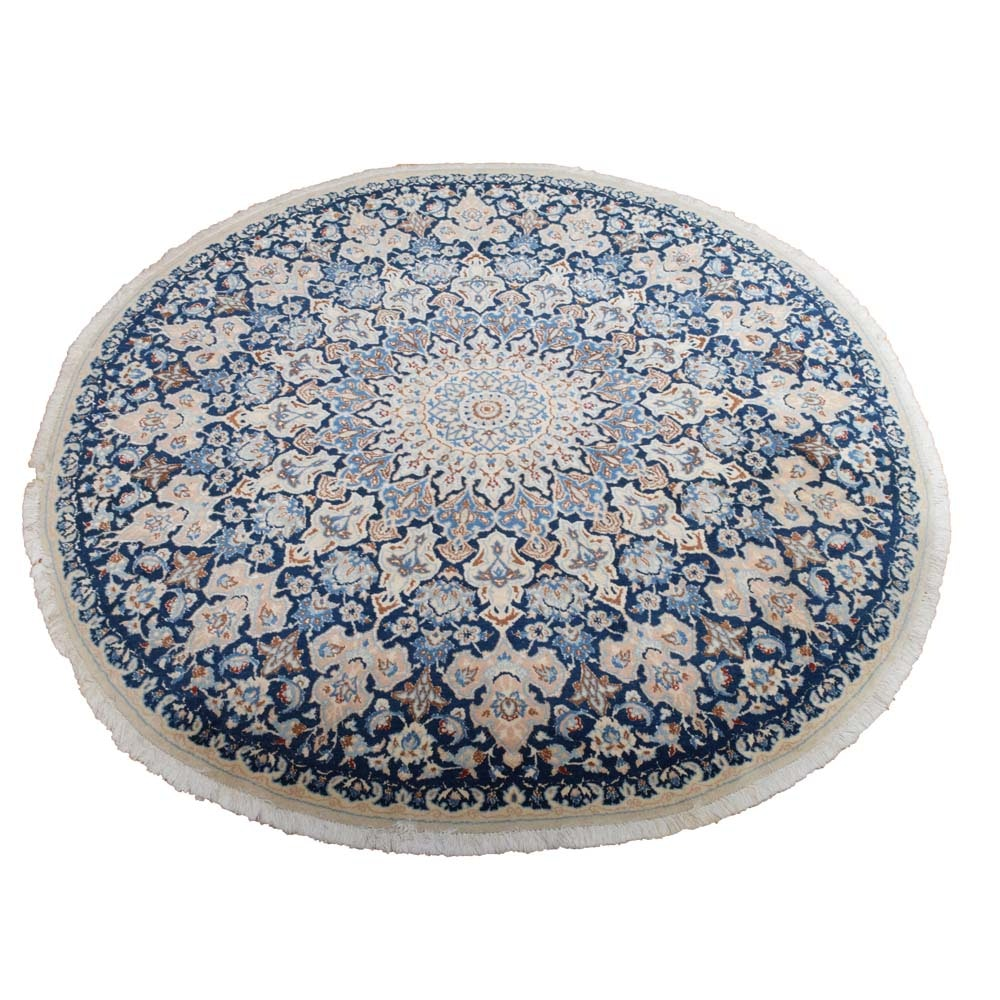 Hand-Knotted Nain Wool Round Area Rug