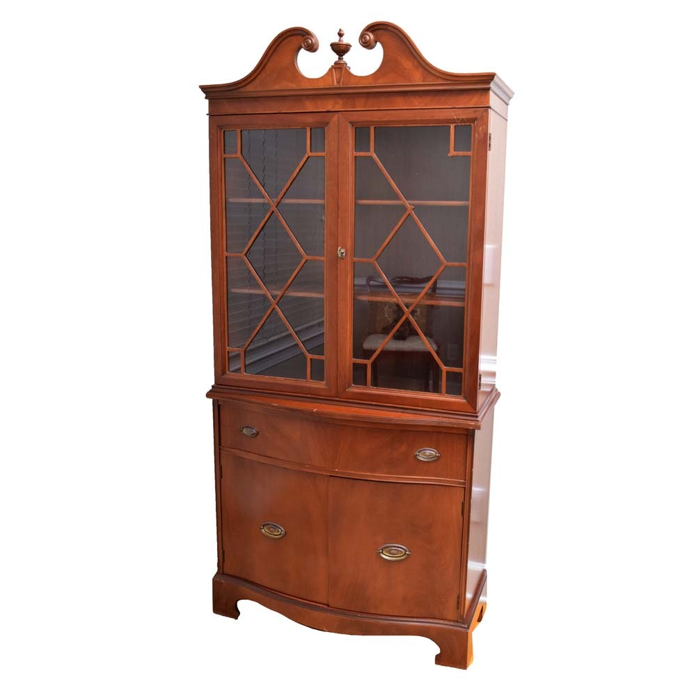 Vintage Federal Style Mahogany China Cabinet