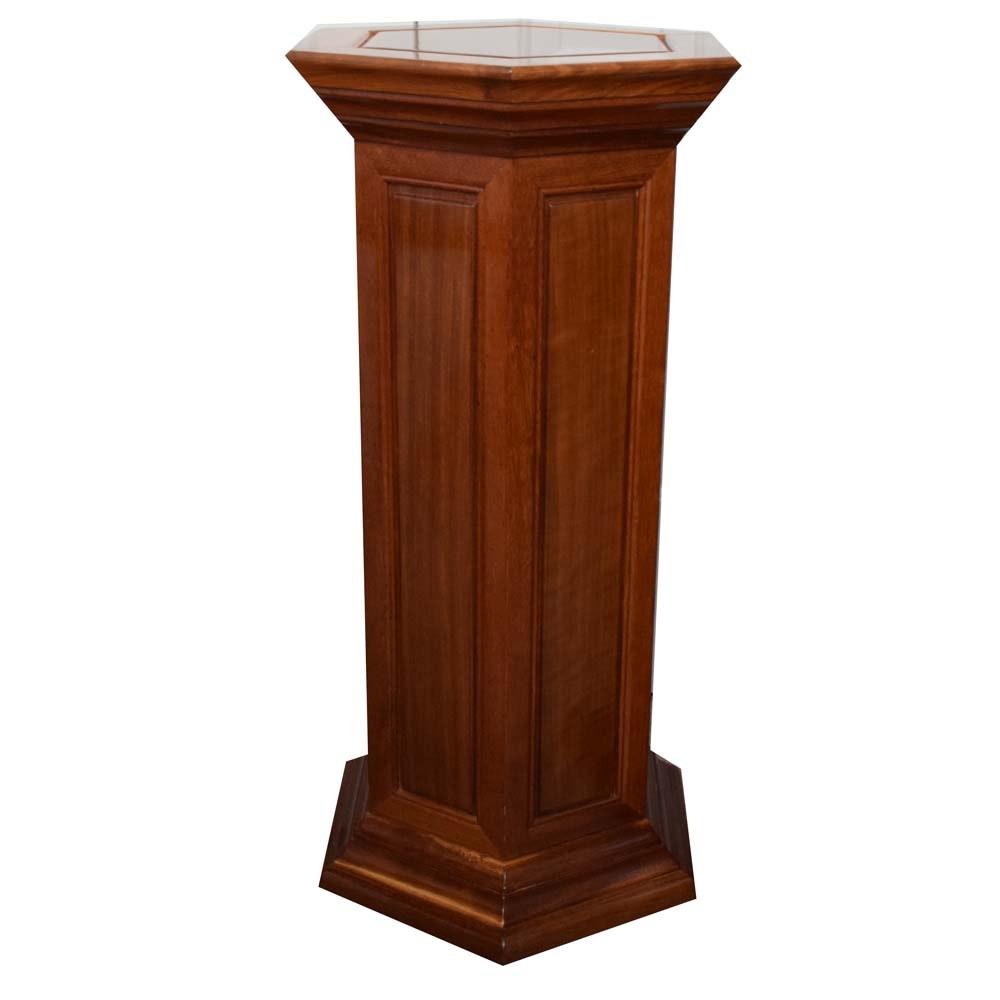Wood Hexagon Pedestal Stand in Walnut Finish