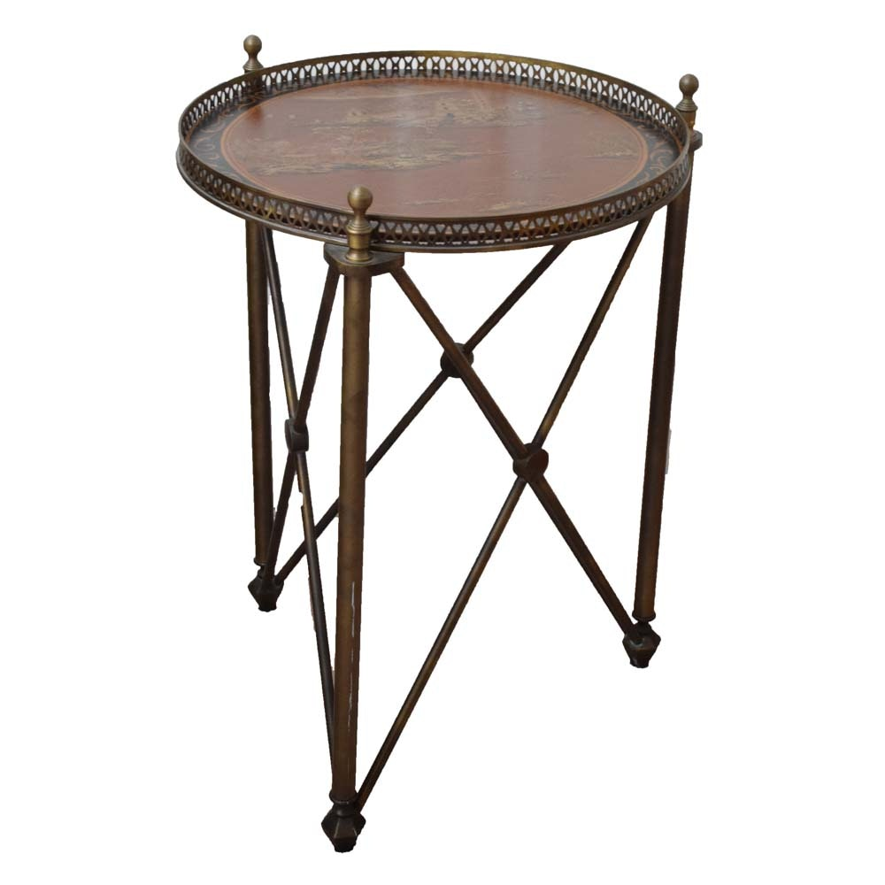 Metal Table with Asian Inspired Wood Round Top