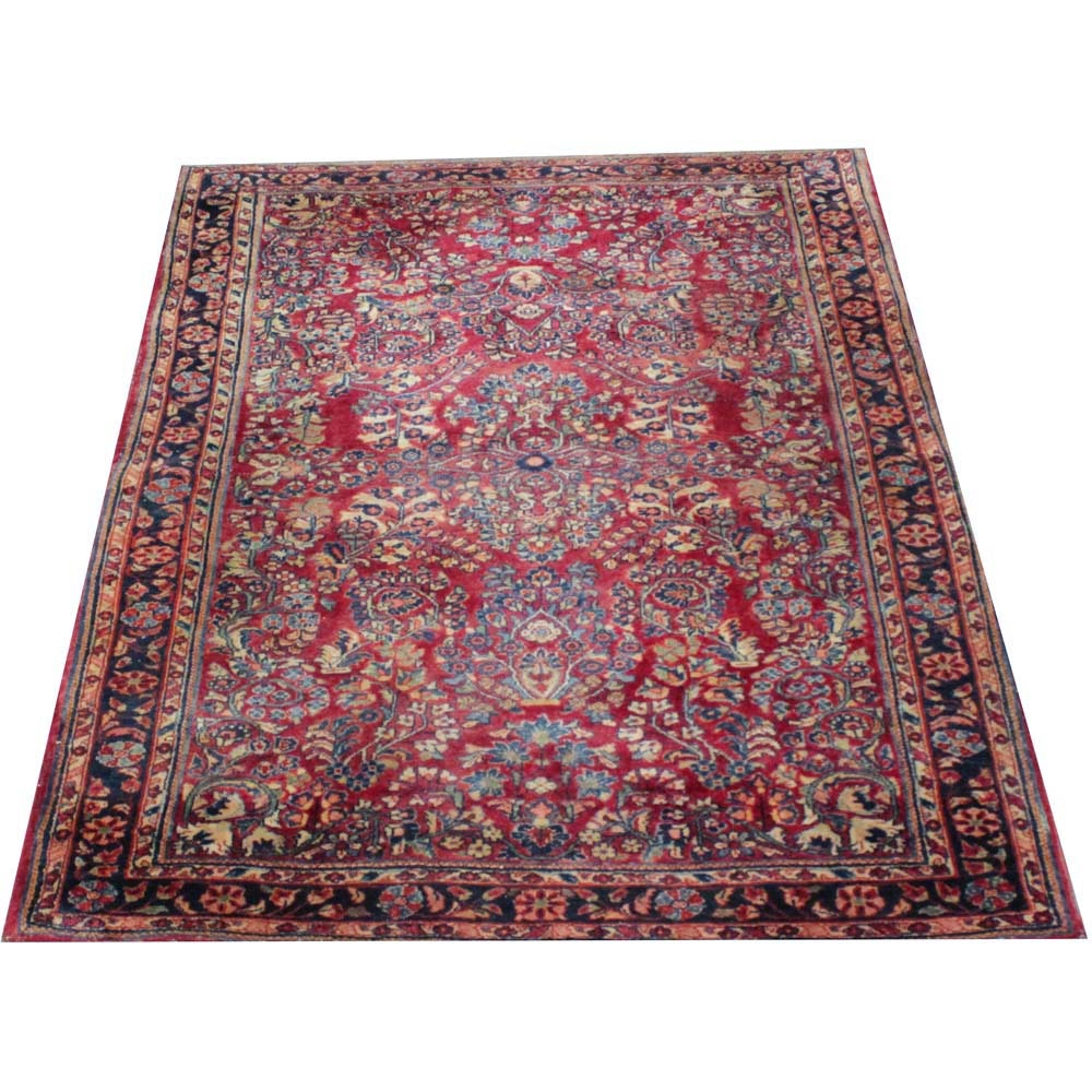 Vintage Hand-Knotted Persian Sarouk Wool Area Rug
