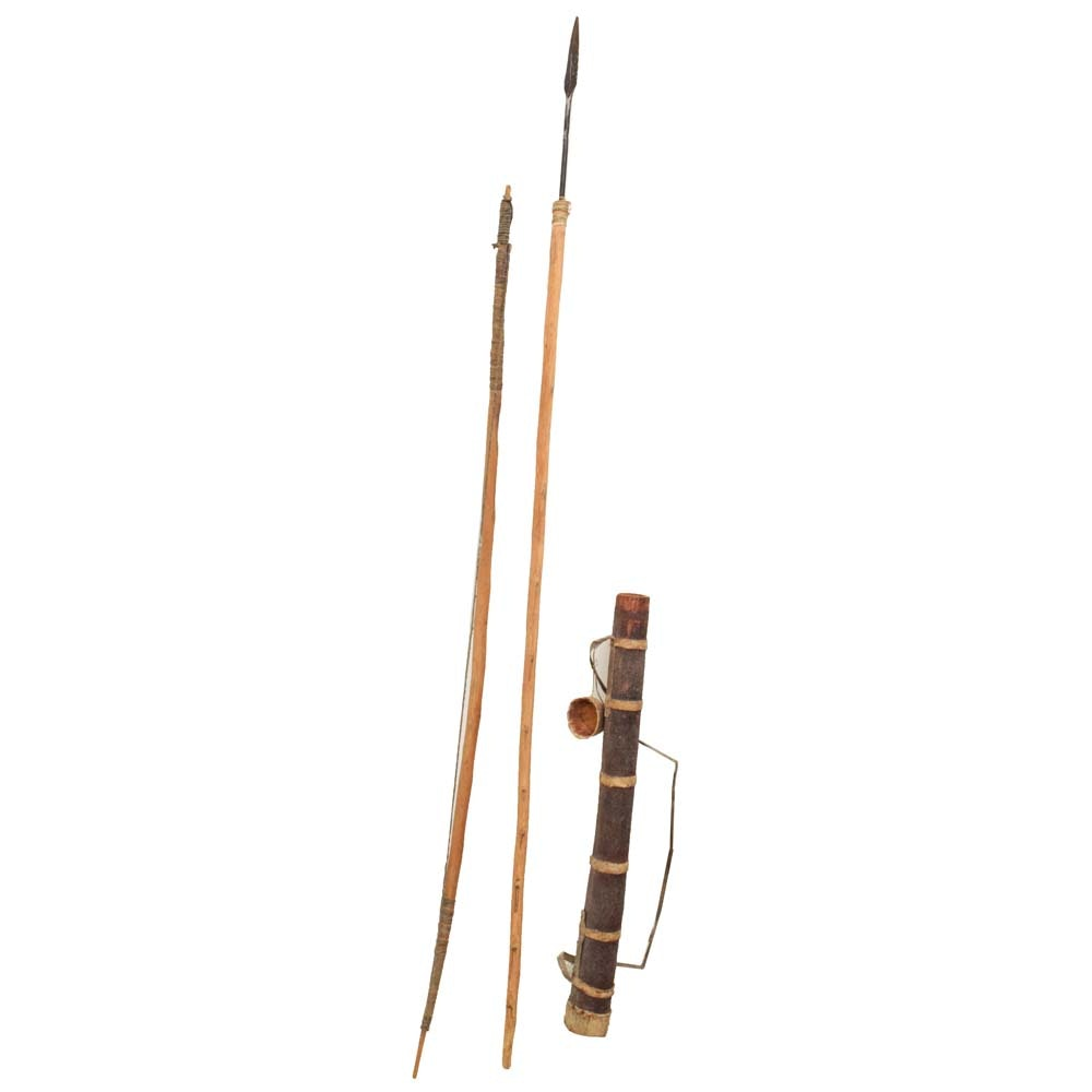Antique Pygmy Hunting Bow and Arrow with Five Steel Tip Arrows and Fire Starter