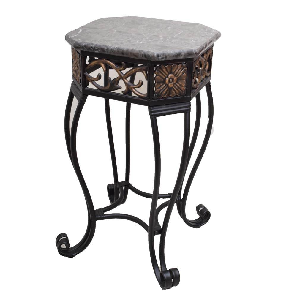 Metal and Granite Accent Table