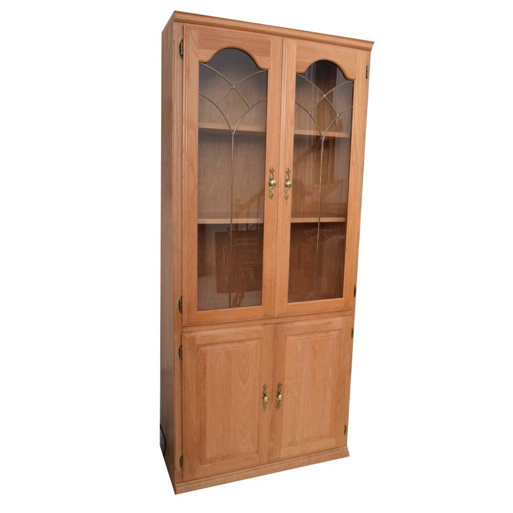 Vintage Oak Glass Door Cabinet