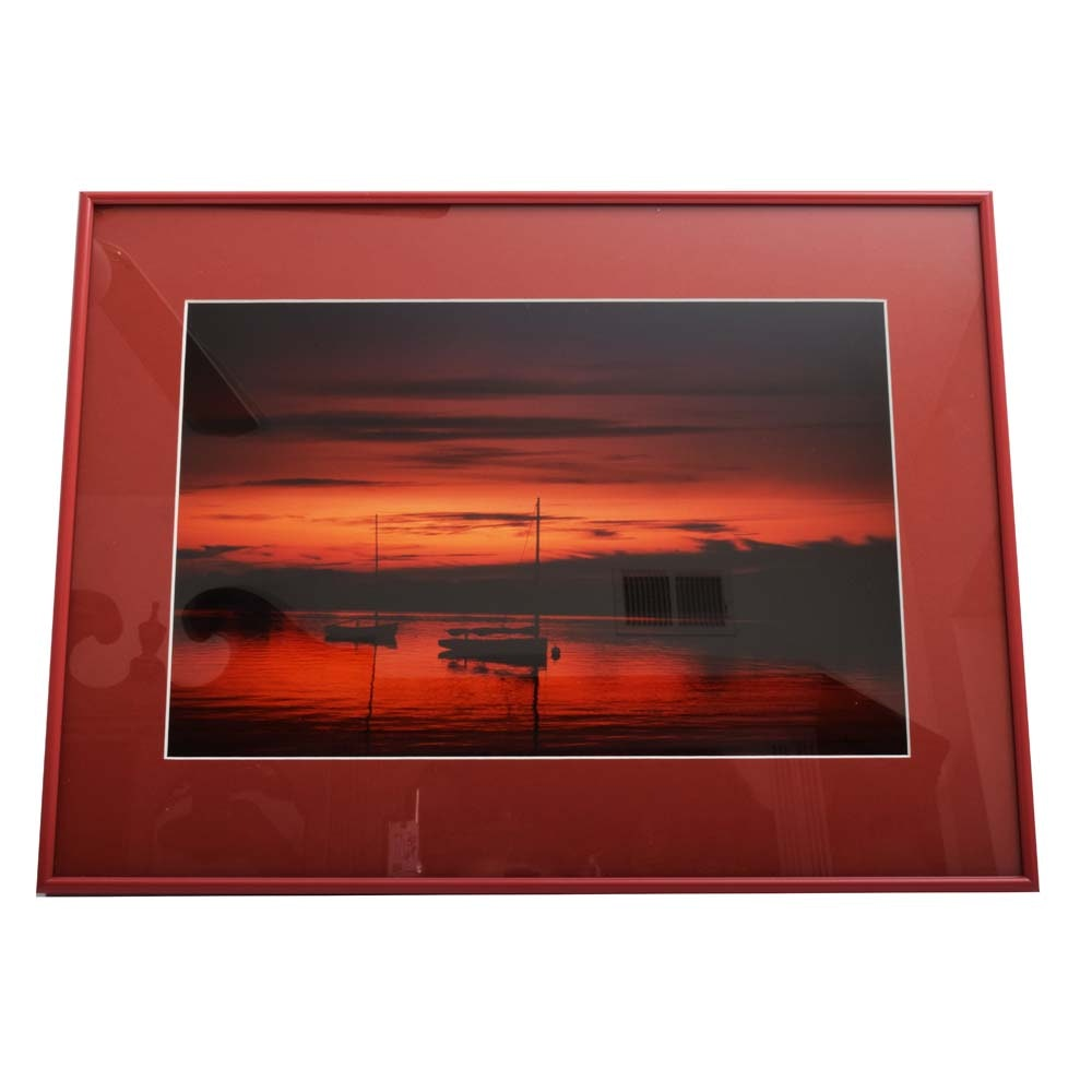"William J Dickson Framed Photograph ""Sunset Over Nantucket"""