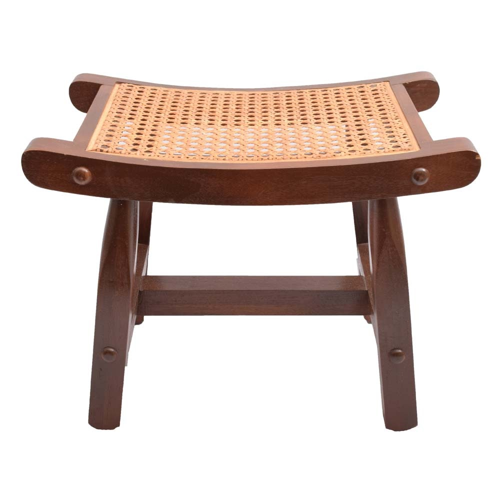 Vintage Asian Inspired Wood and Rattan Stool