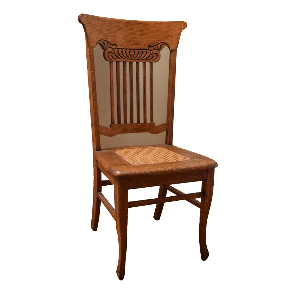 Hand Caned Accent Chair by George E. Owen