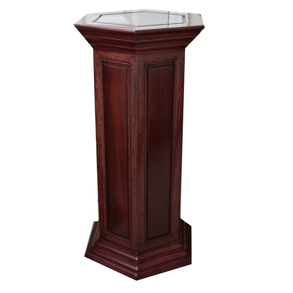 Wood Hexagon Pedestal Stand with Mahogany Finish