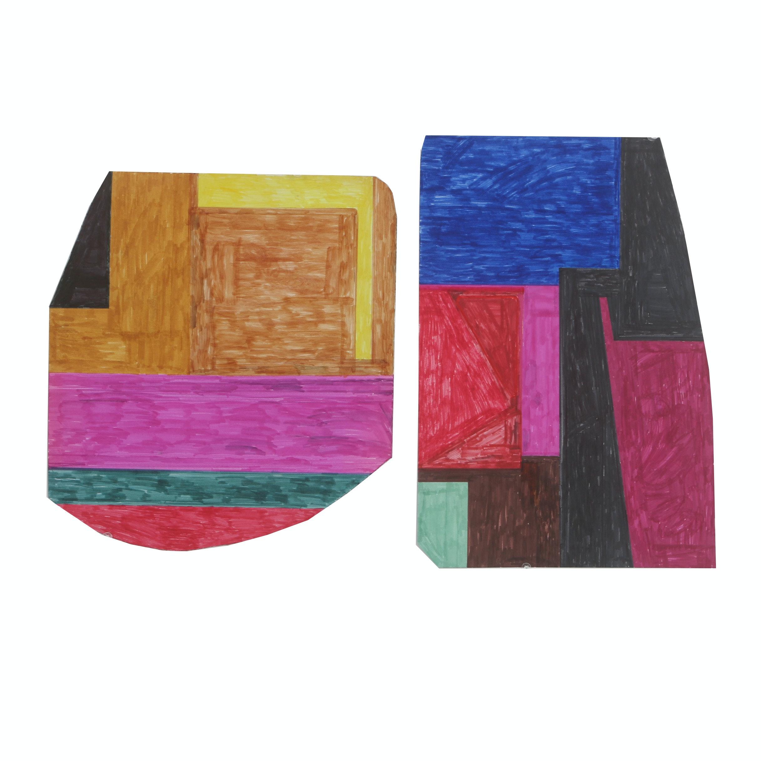 Pair of John Nusekabel Abstract Marker Drawings
