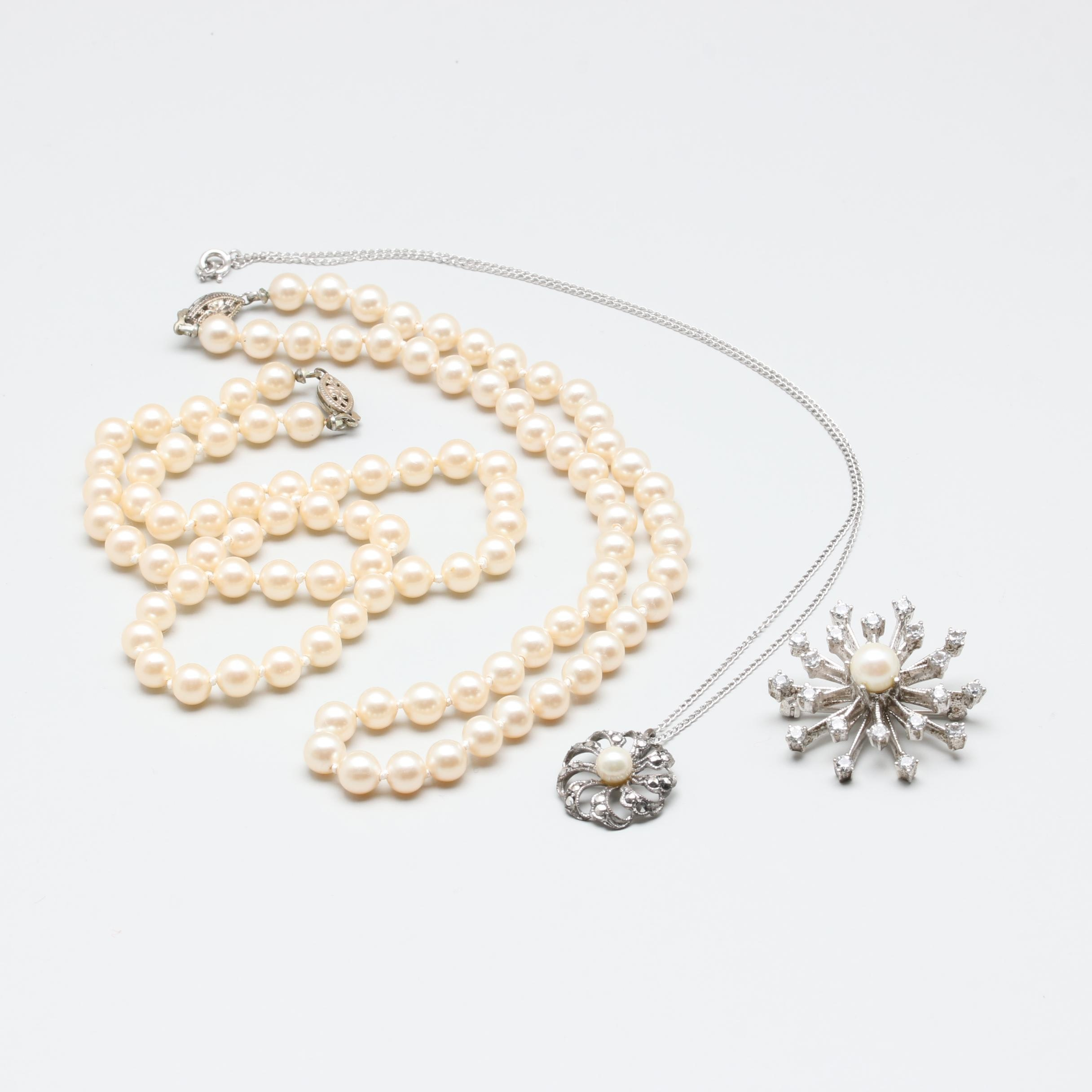 Sterling Silver Cultured Pearl, Imitation Pearl, and Synthetic Spinel Jewelry