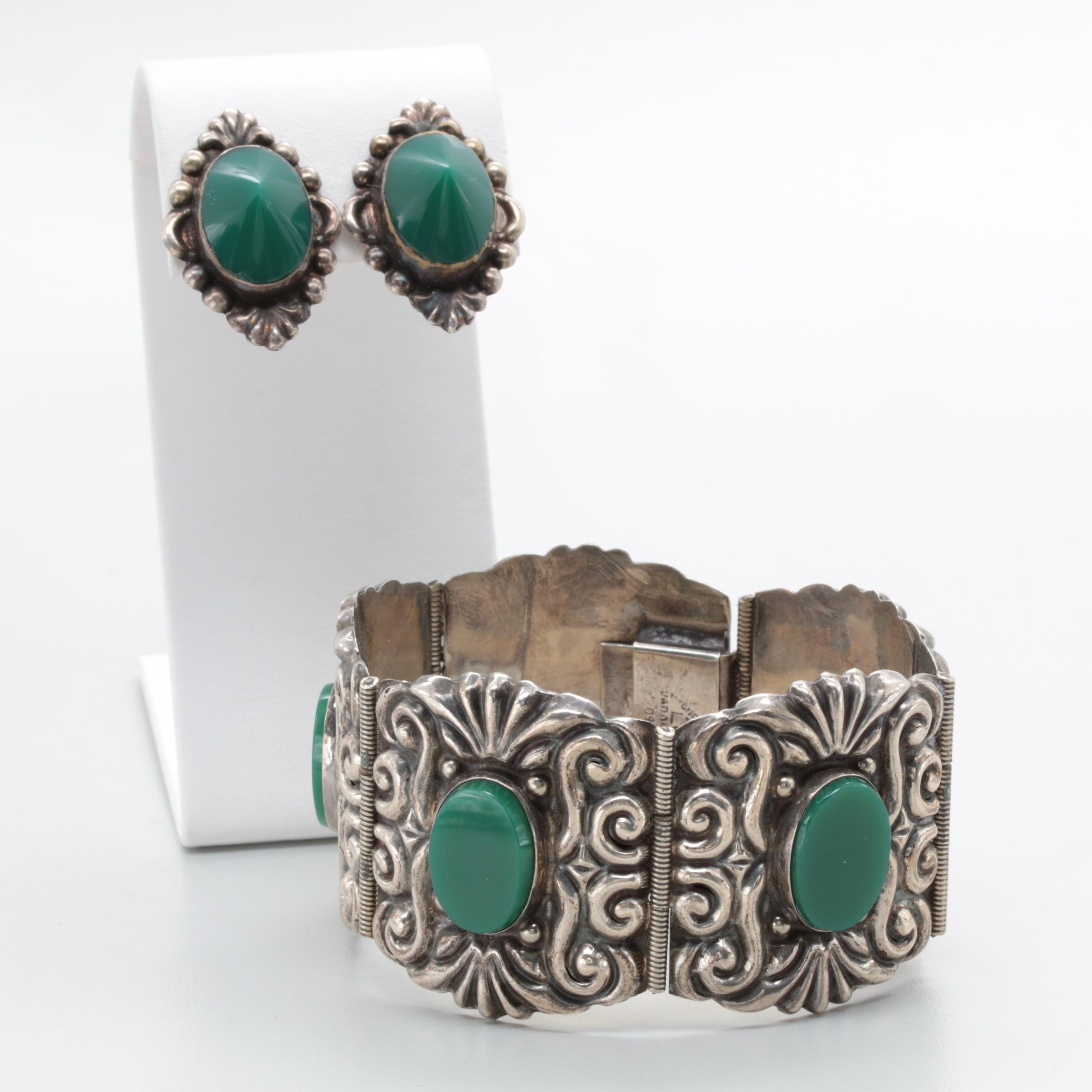 Mexico Sterling Silver Green Glass Bracelet and Earrings