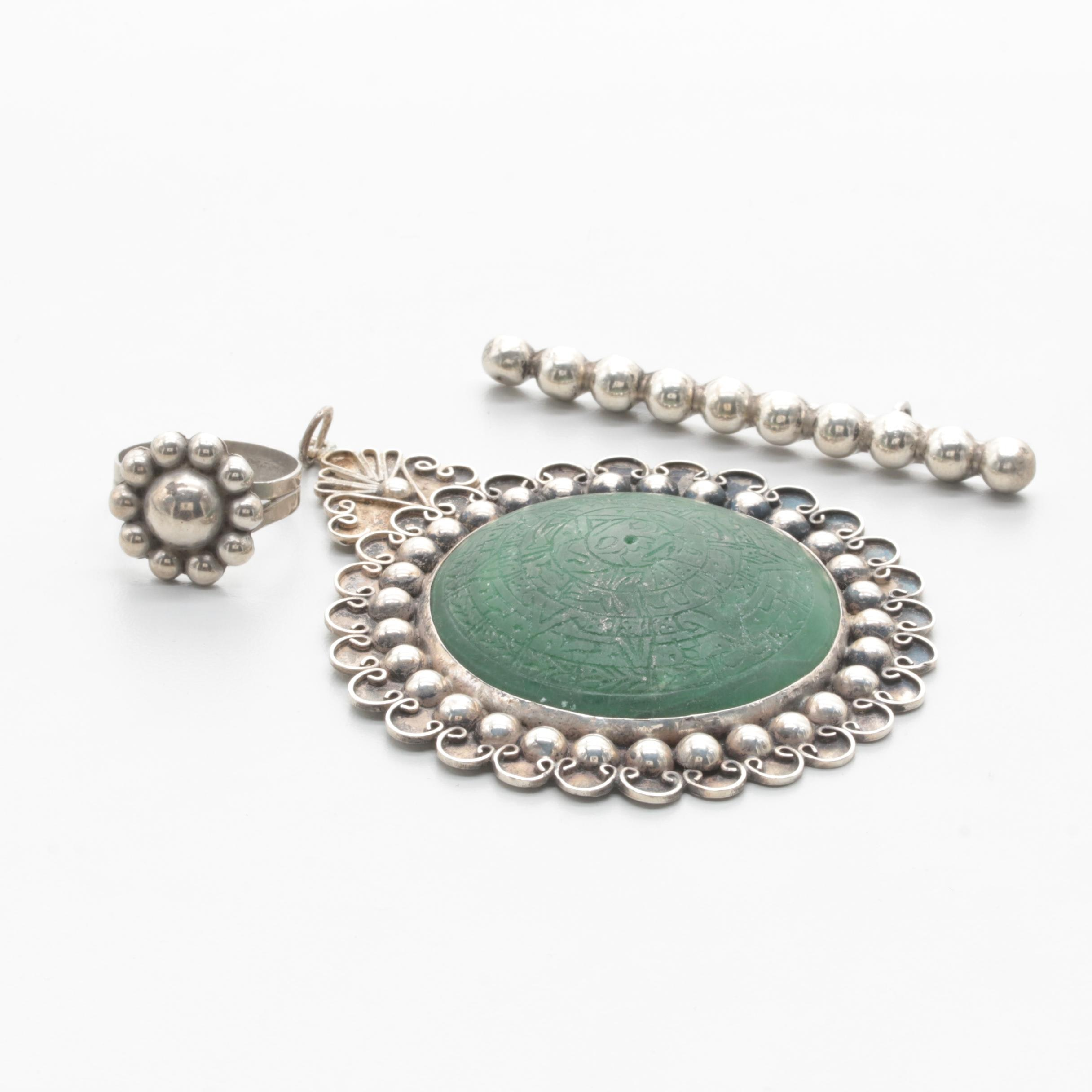 Taxco and Mexican 980 Silver and Sterling Silver Green Calcite Jewelry