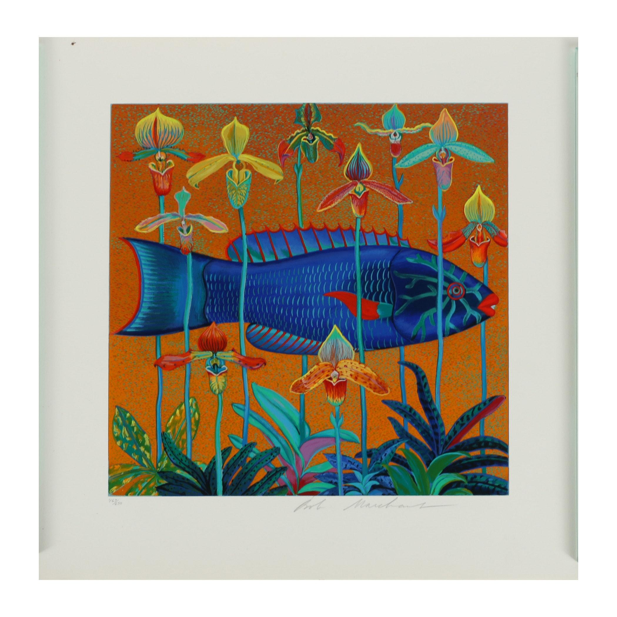 "Bob Marchant Serigraph ""Orchid Fish"""