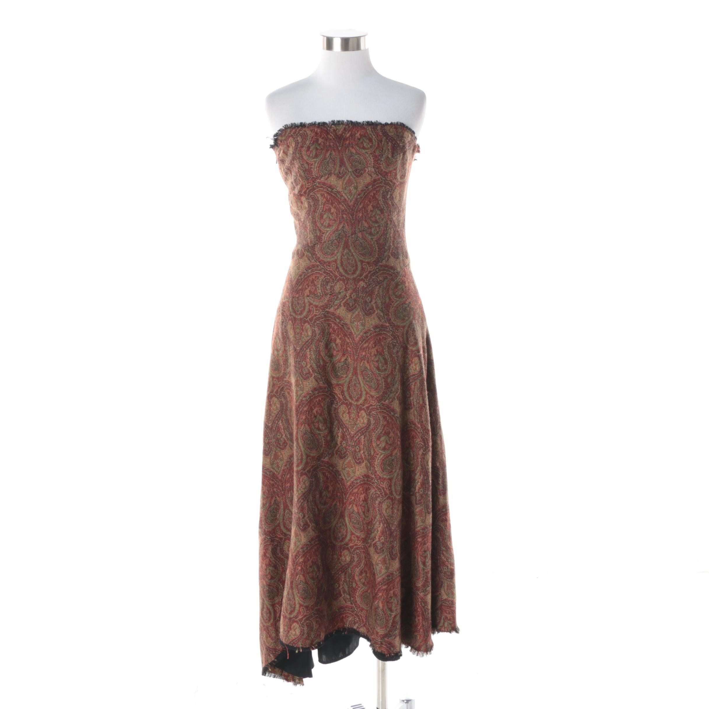 Lara Miller Kimber Woven Paisley Tapestry Strapless Dress