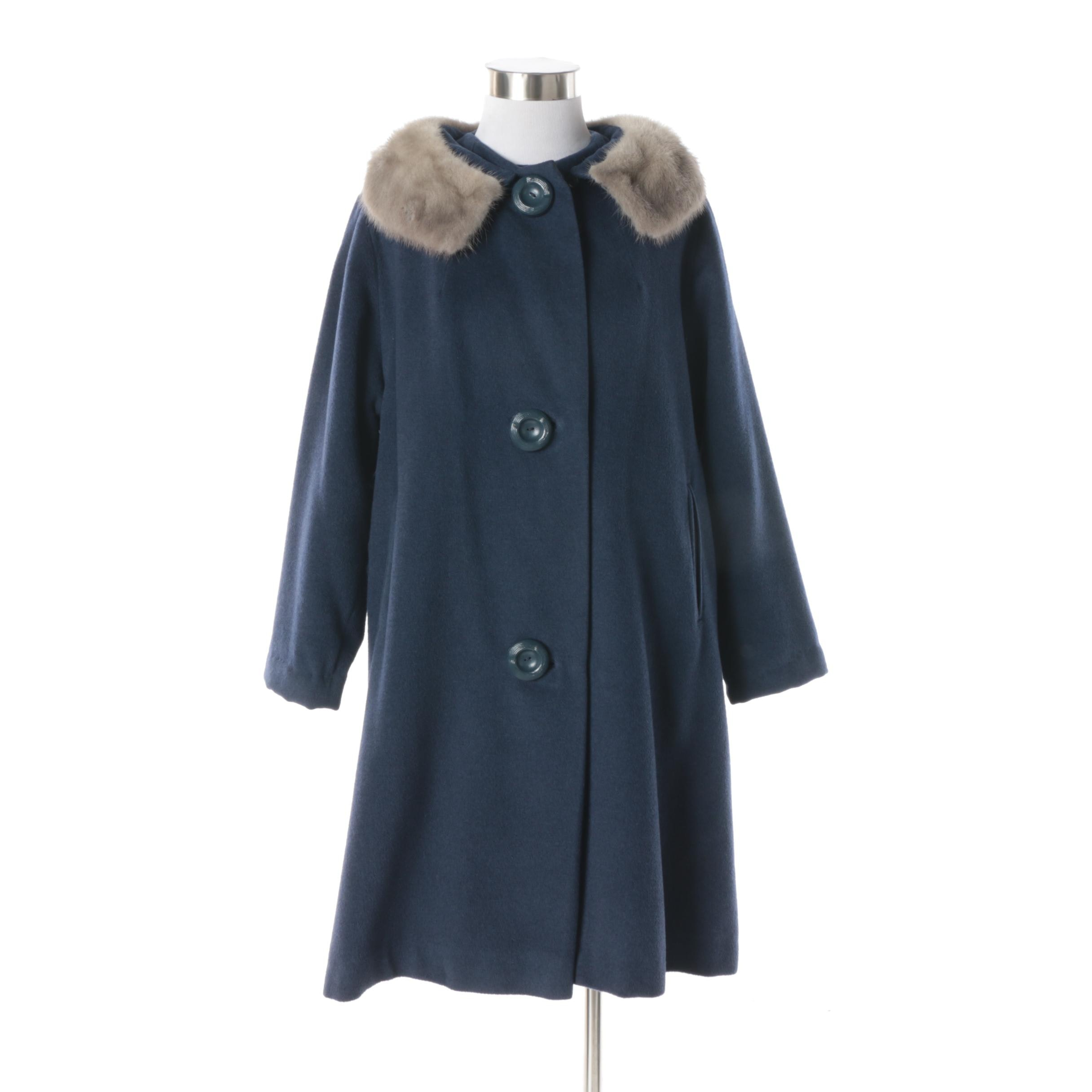 Women's Vintage Titche's Navy Wool Blend Coat with Silver Mink Fur Collar