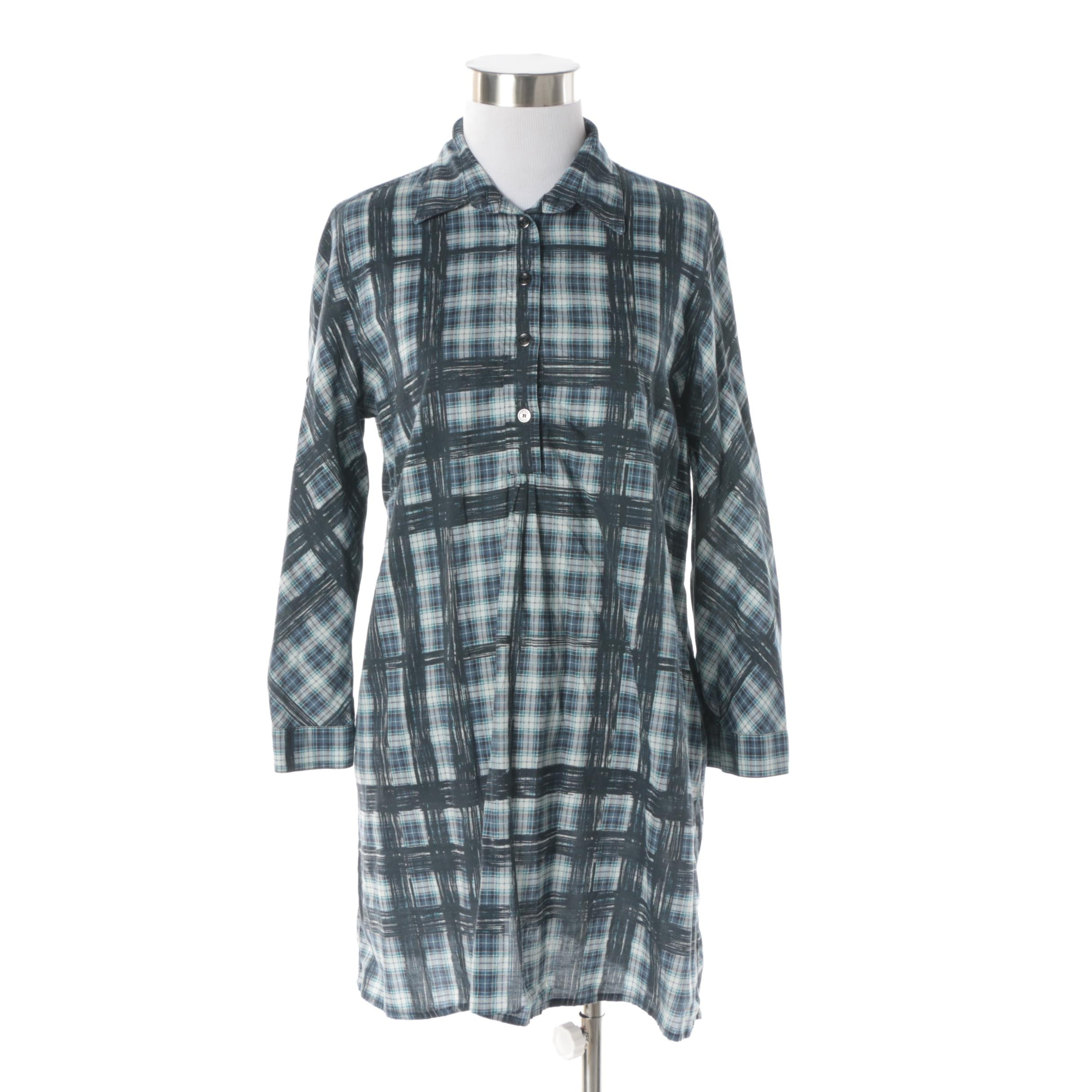 Women's Burberry Brit Blue Plaid Tunic Style Top