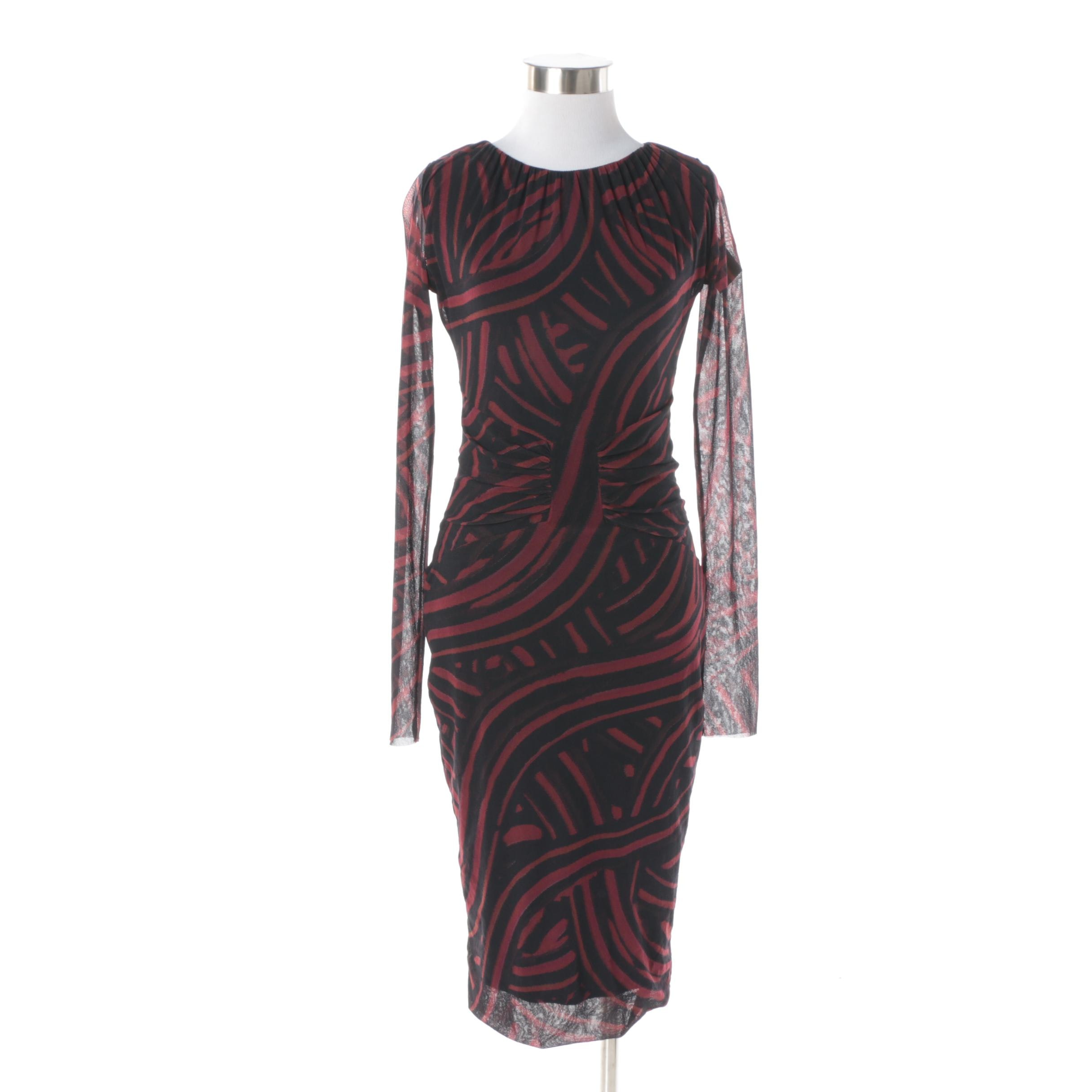 Fuzzi Burgundy and Black Pattern Cocktail Dress