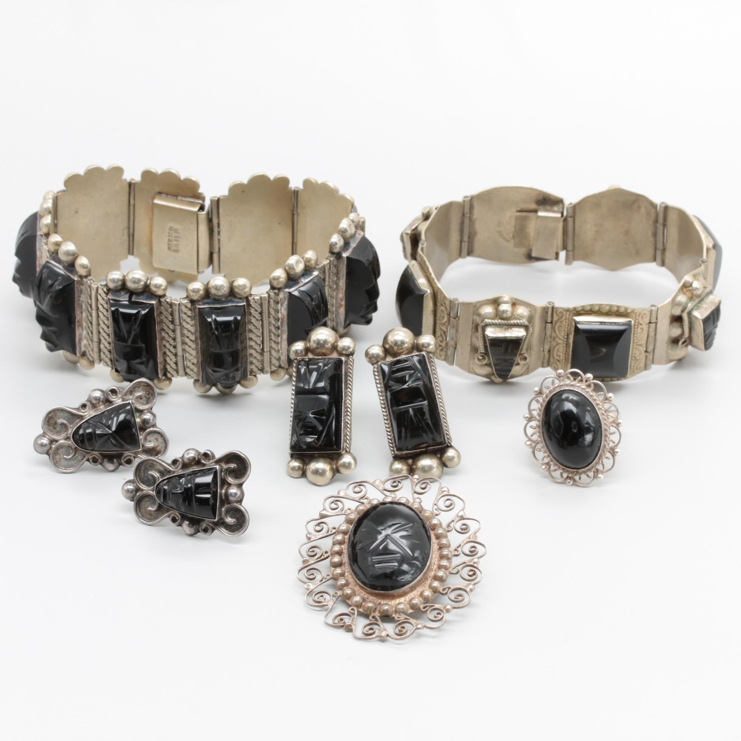 Mexican Sterling Silver Obsidian Jewelry