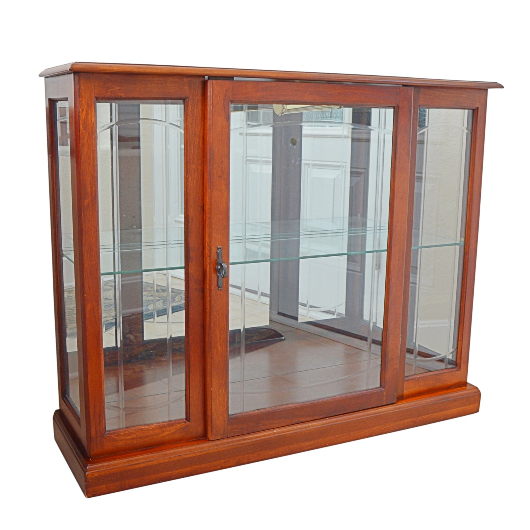 Lighted Mahogany and Glass Display Cabinet