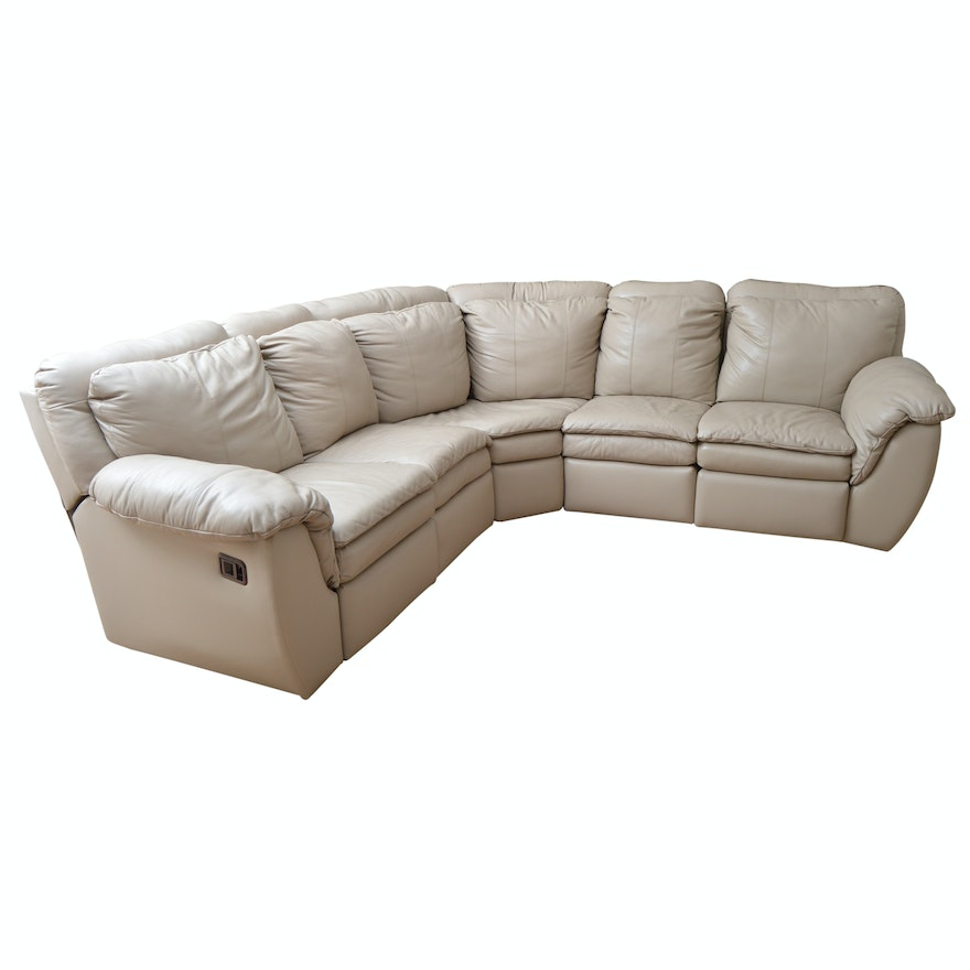 Beige Leather Sectional With Two