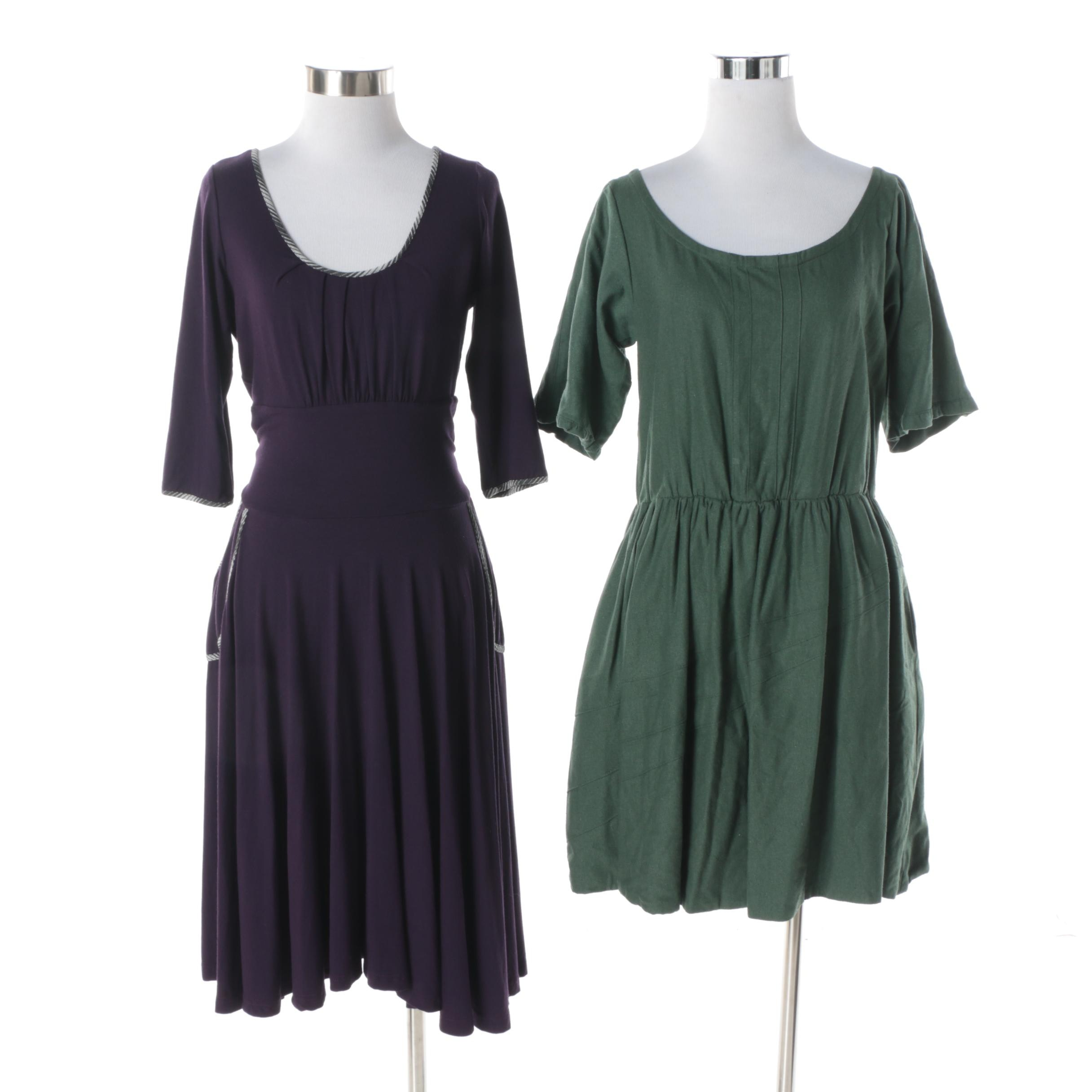 Lara Miller Green Vegan Silk Dress and Squasht by Les Purple Hemp Dress