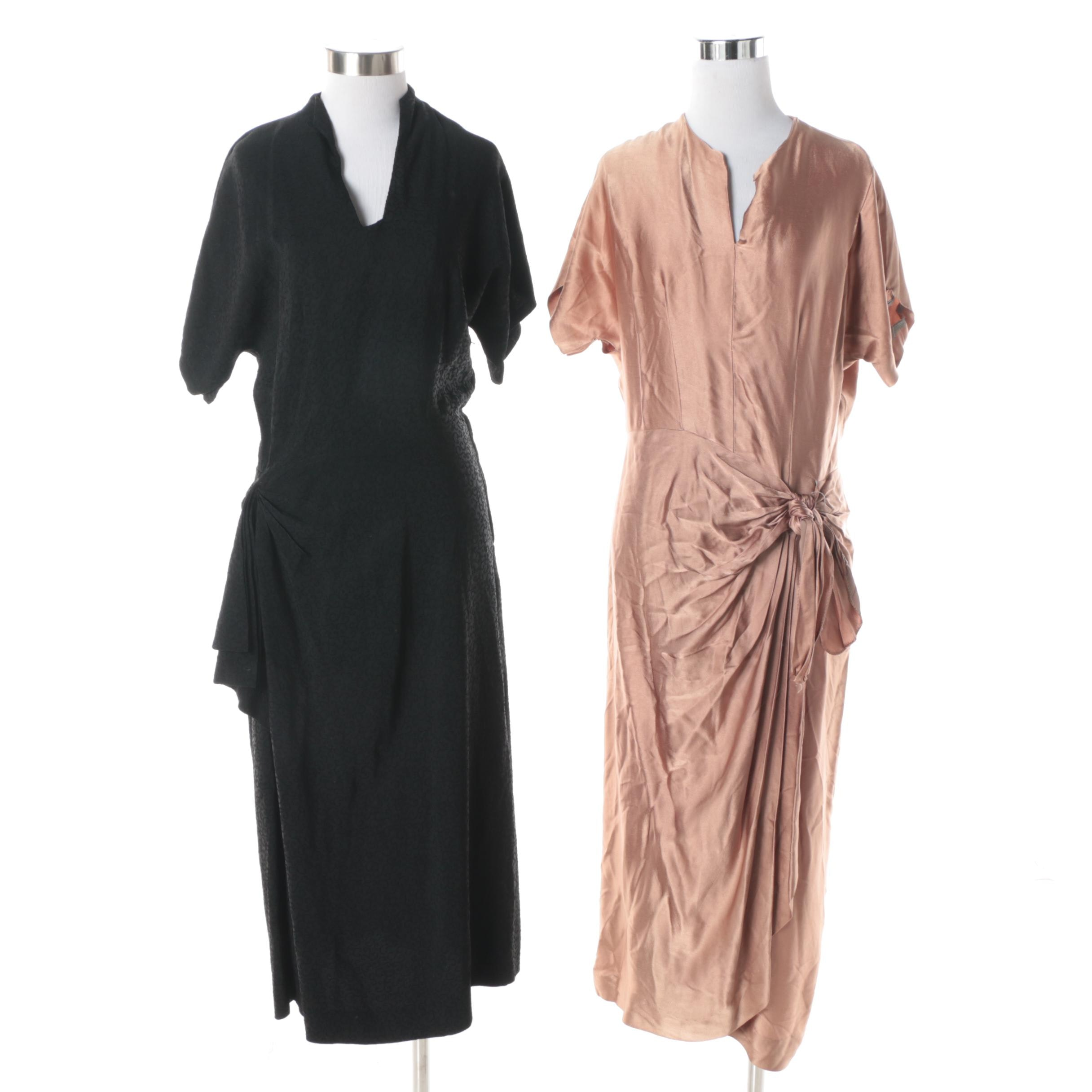 Circa 1950s Vintage Silk Tie Waist Cocktail Dresses