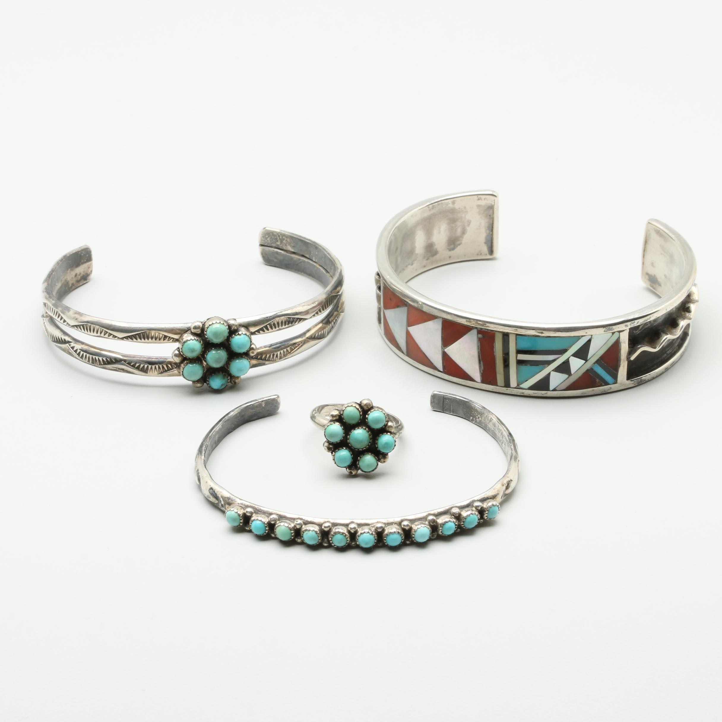 Southwestern Style Sterling and 900 Silver Jewelry Including Turquoise and Coral
