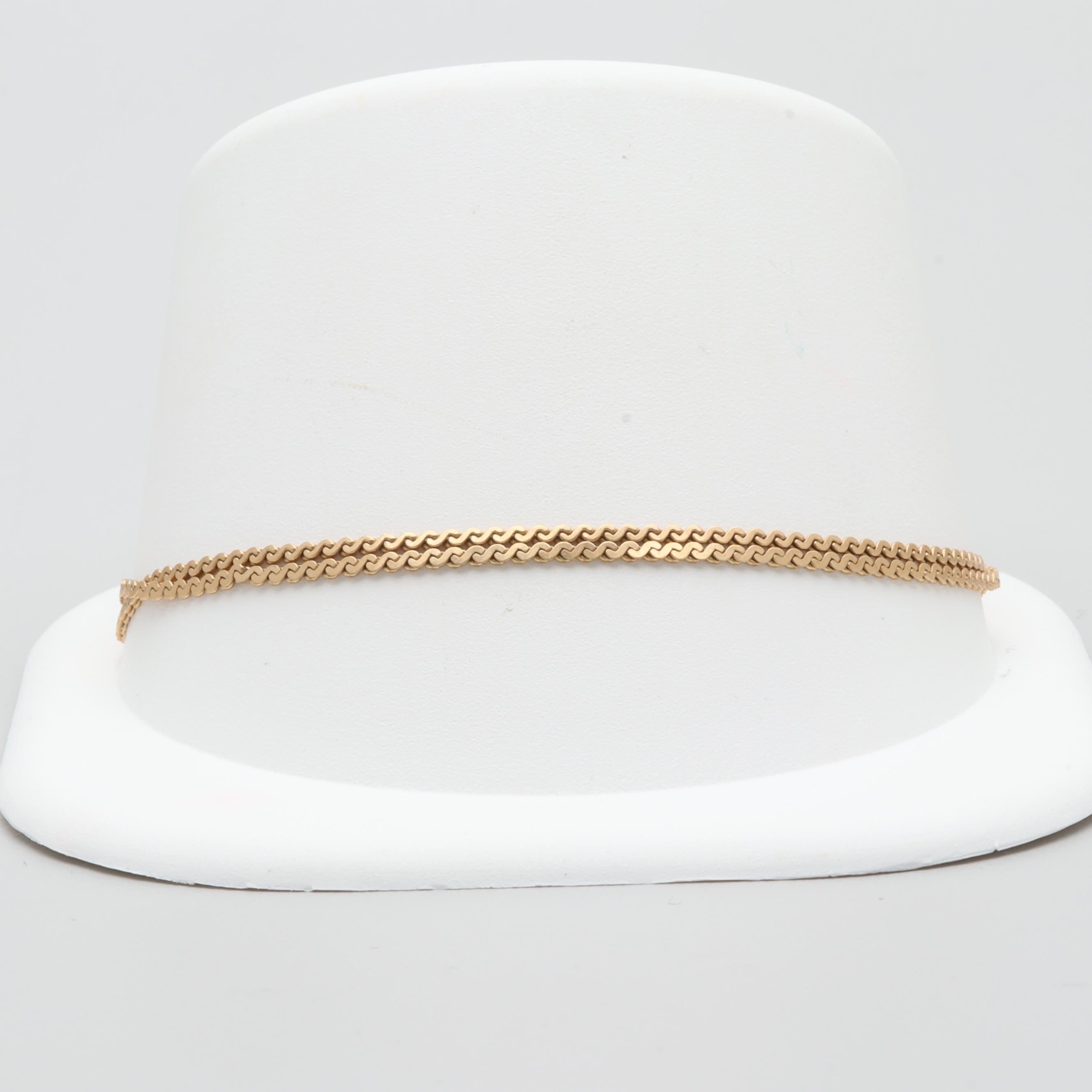14K Yellow Gold Serpentine Chain Bracelet