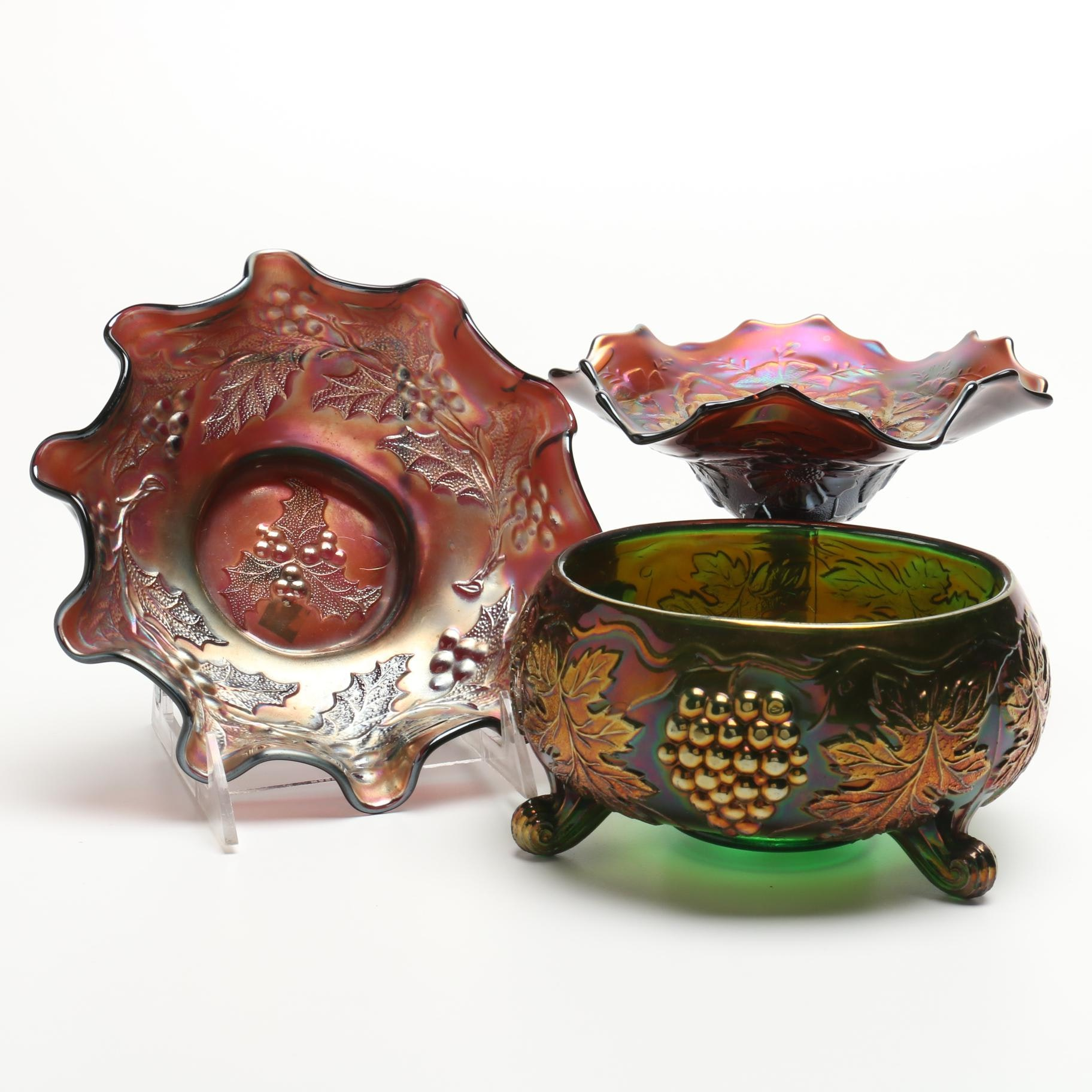 Iridescent Carnival Glass Including Dugan and Northwood
