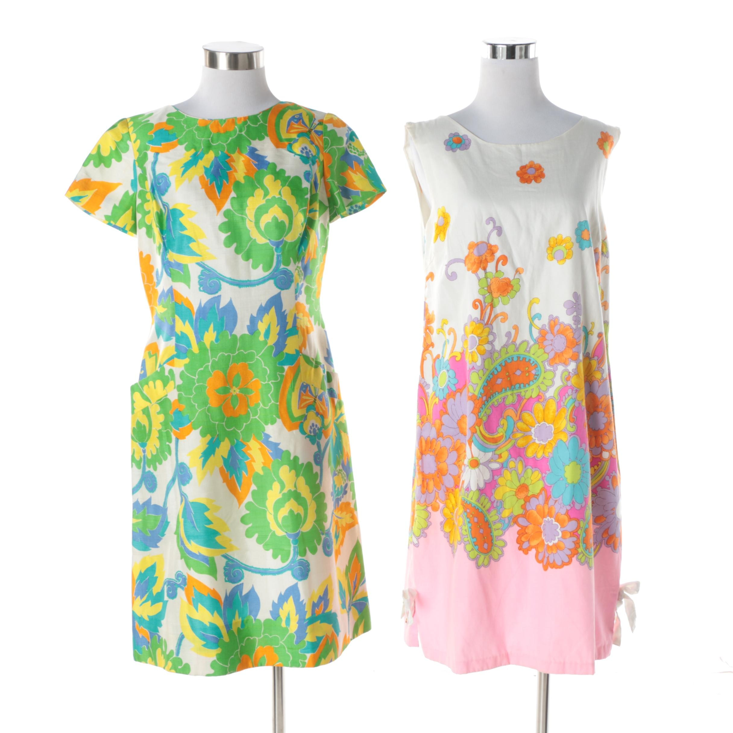 Vintage Colorful Silk and Cotton Day Dresses