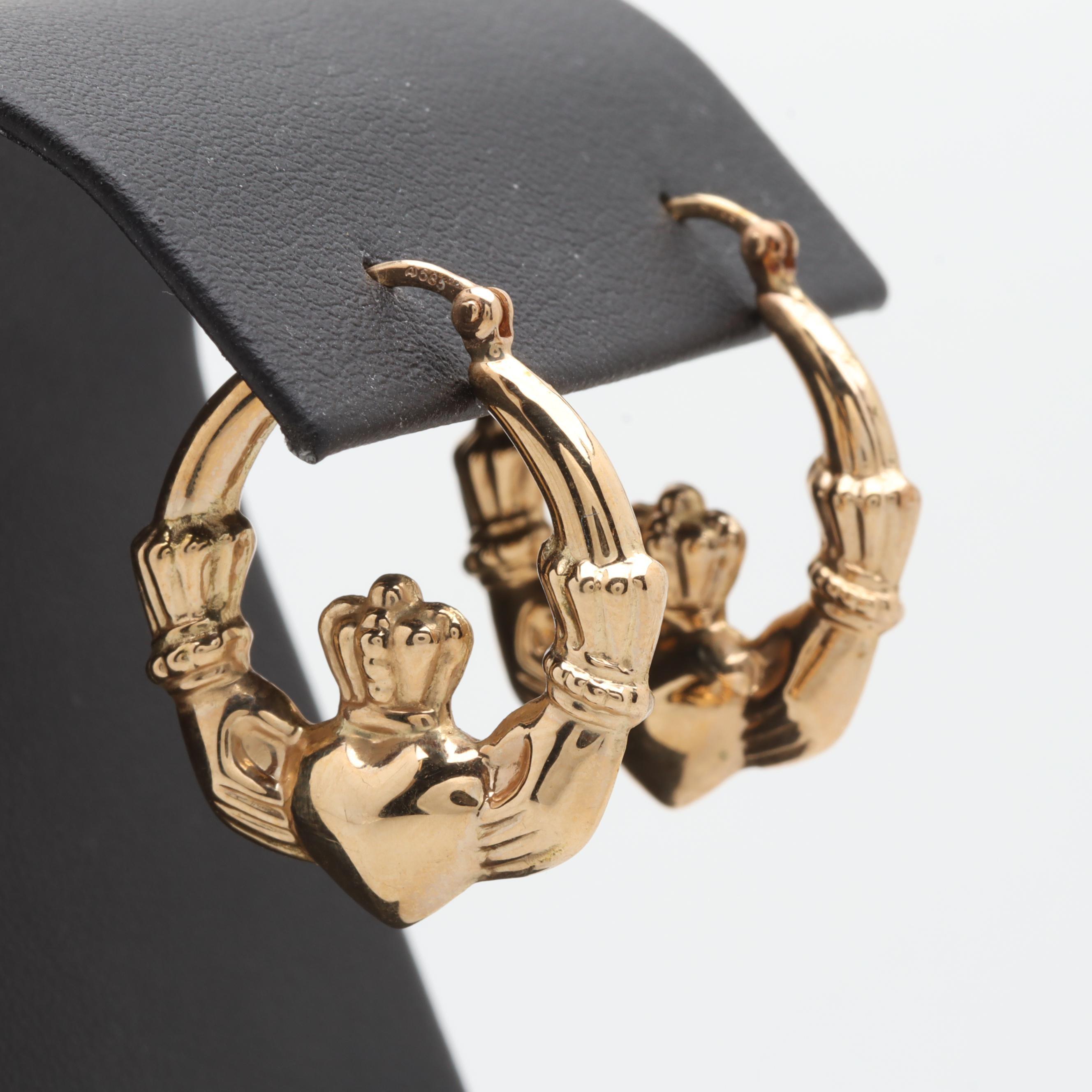 14K Yellow Gold Claddaugh Hoop Earrings