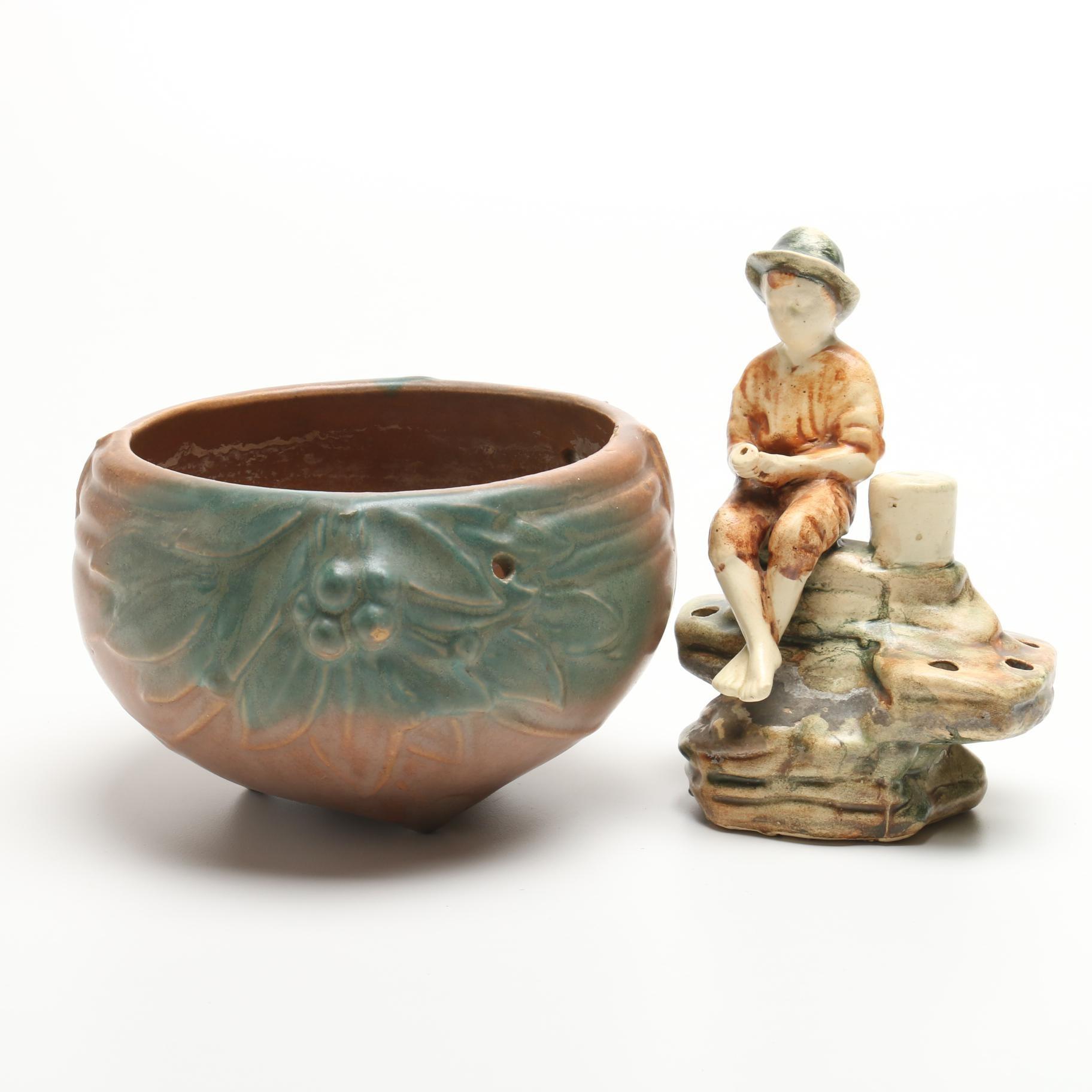 """Weller Pottery """"Mustoka"""" Fishing Boy with Hanging McCoy Jardiniere"""