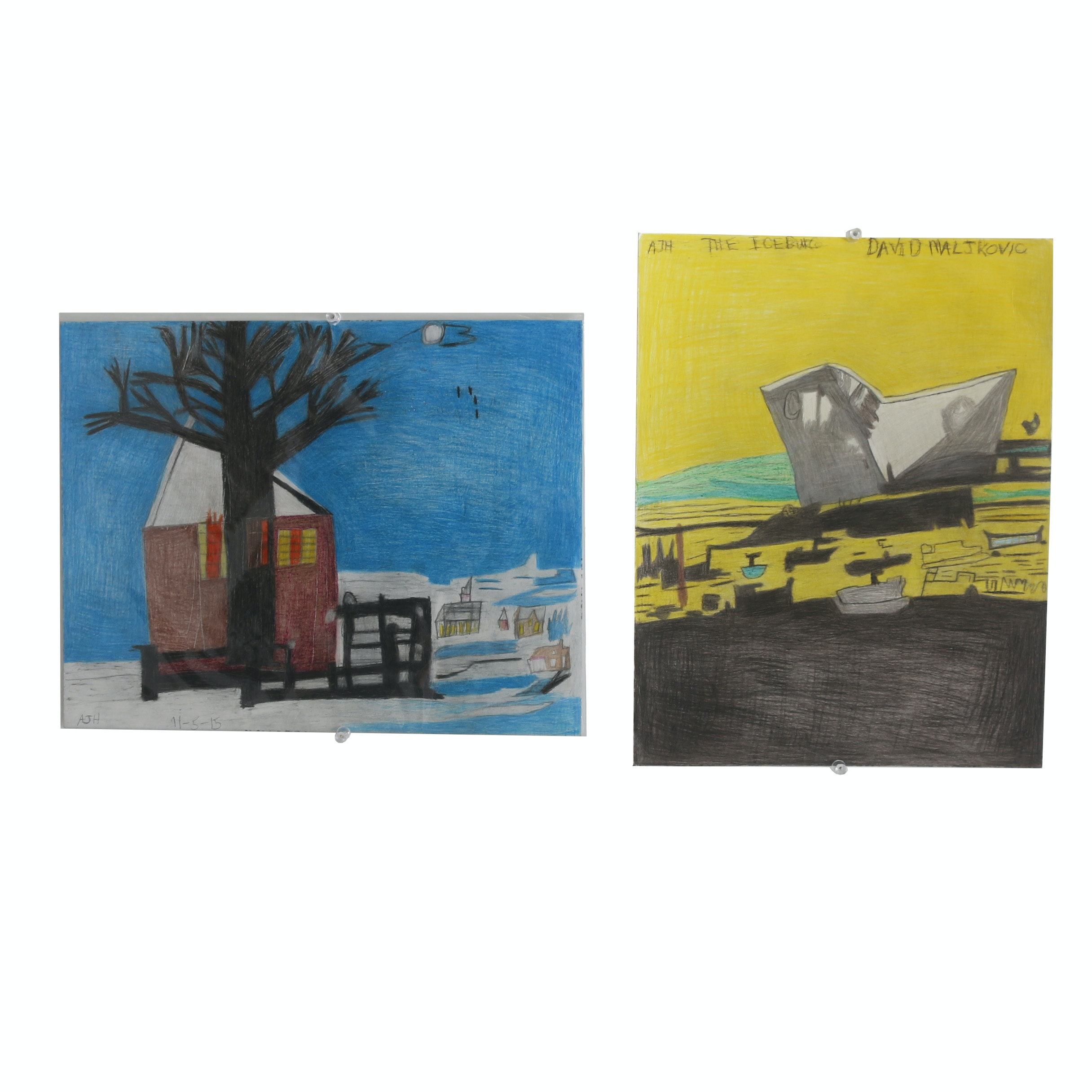 "Pair of Andrew Hostick Colored Pencil Drawings ""The Iceberg"" and ""Winter House"""