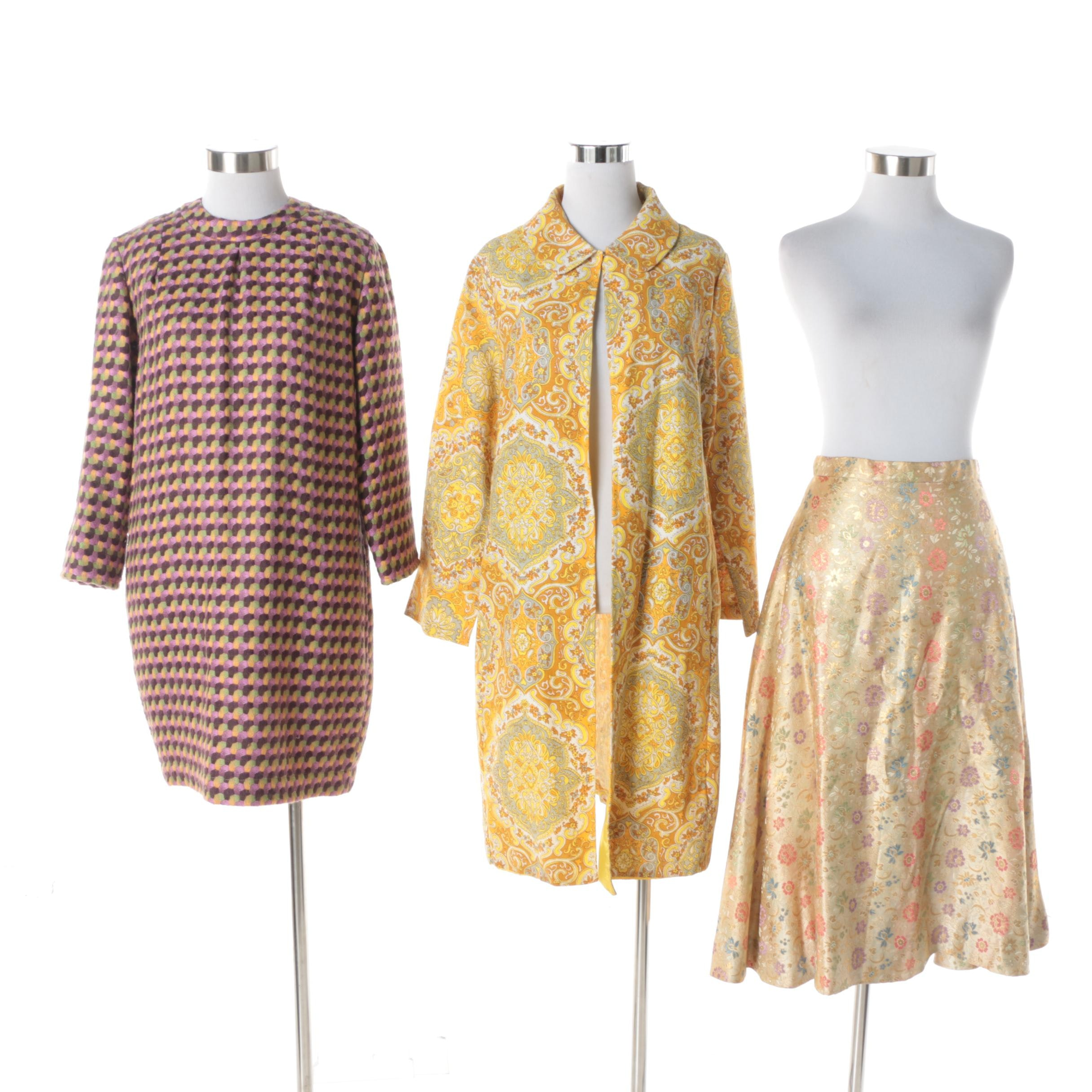 Women's Circa 1960s Vintage Duster, Wool Blend Dress, and Brocade Skirt