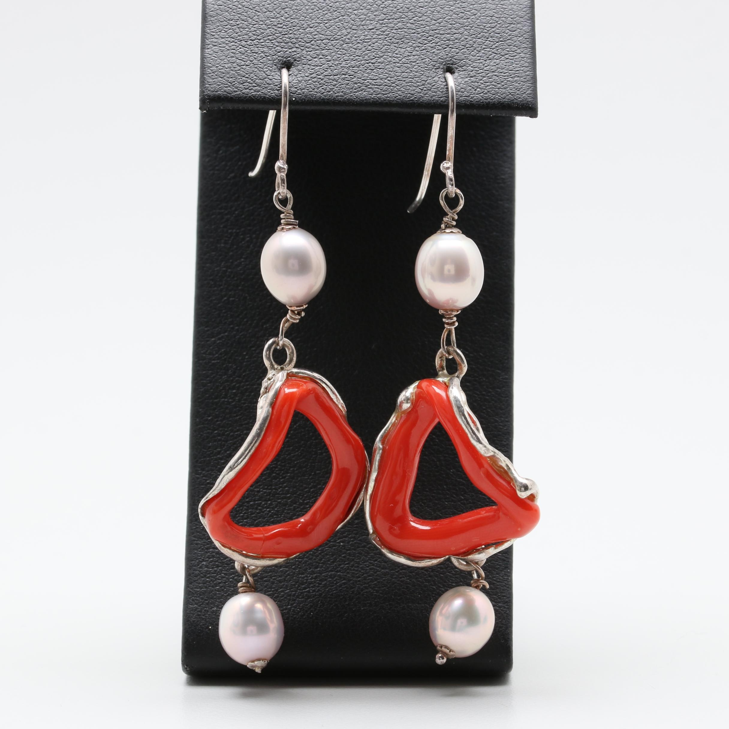 Sterling Silver Branch Coral and Cultured Pearl Earrings