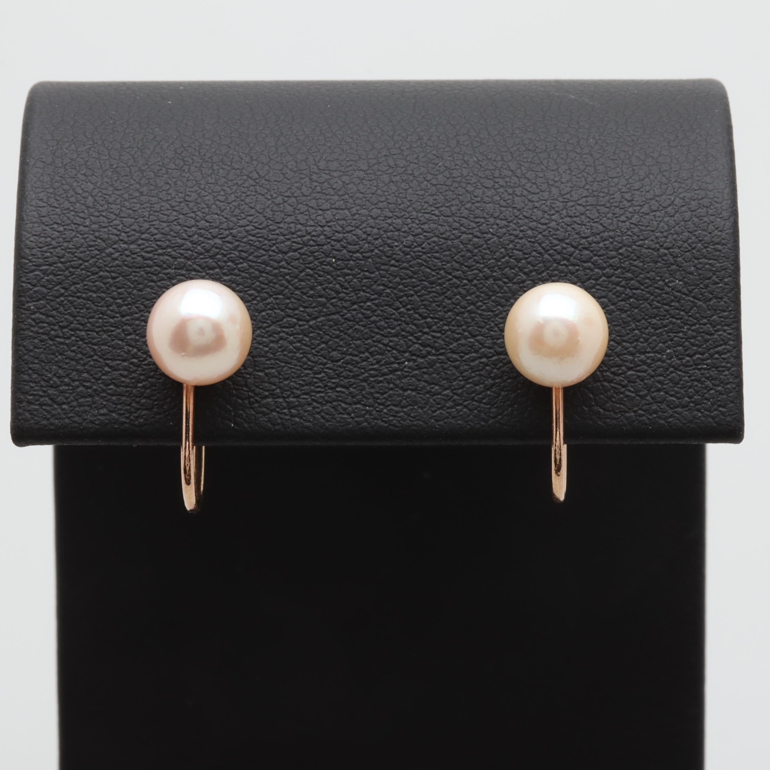 14K Yellow Gold Cultured Pearl Screwback Earrings