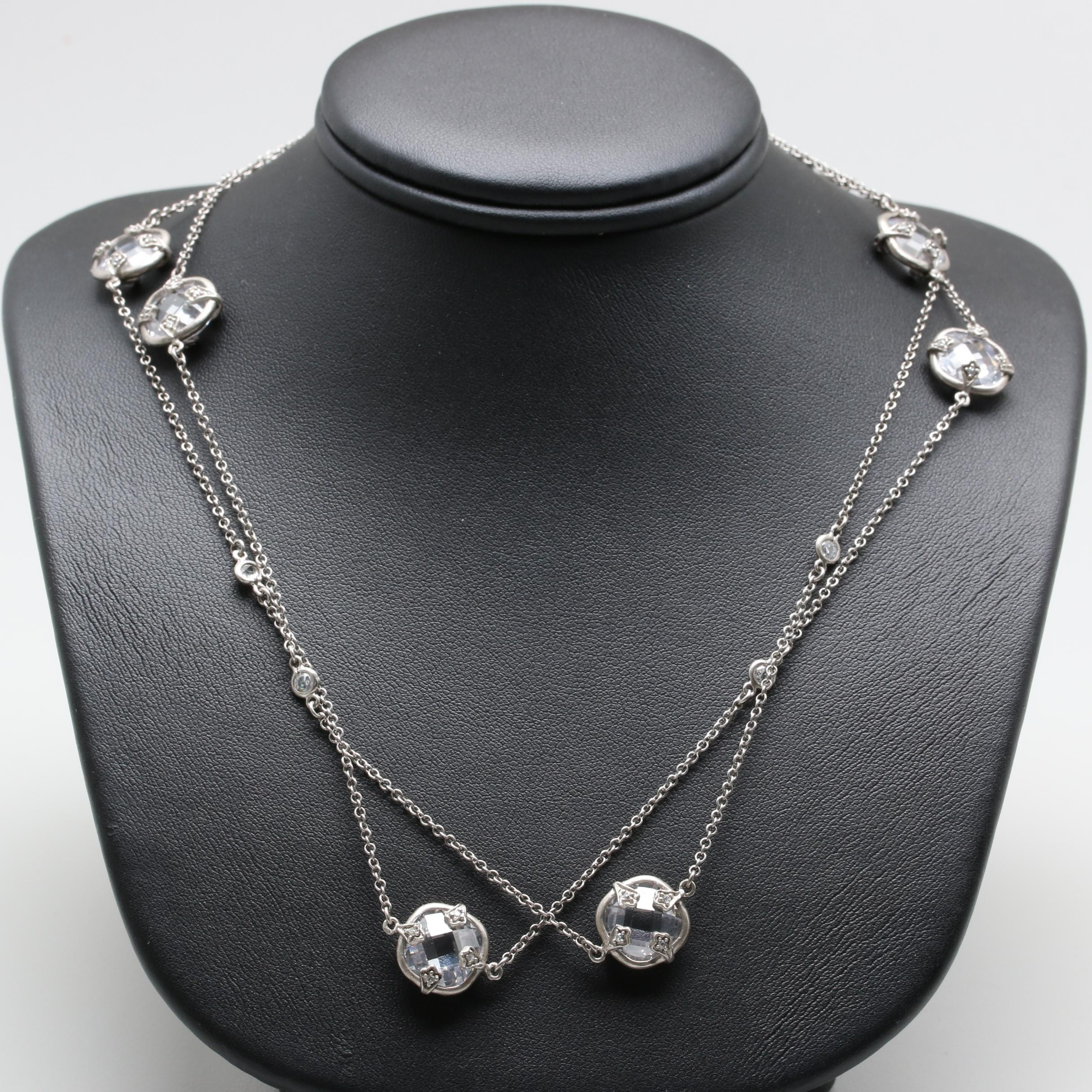 Sterling Silver Cubic Zirconia Link Necklace
