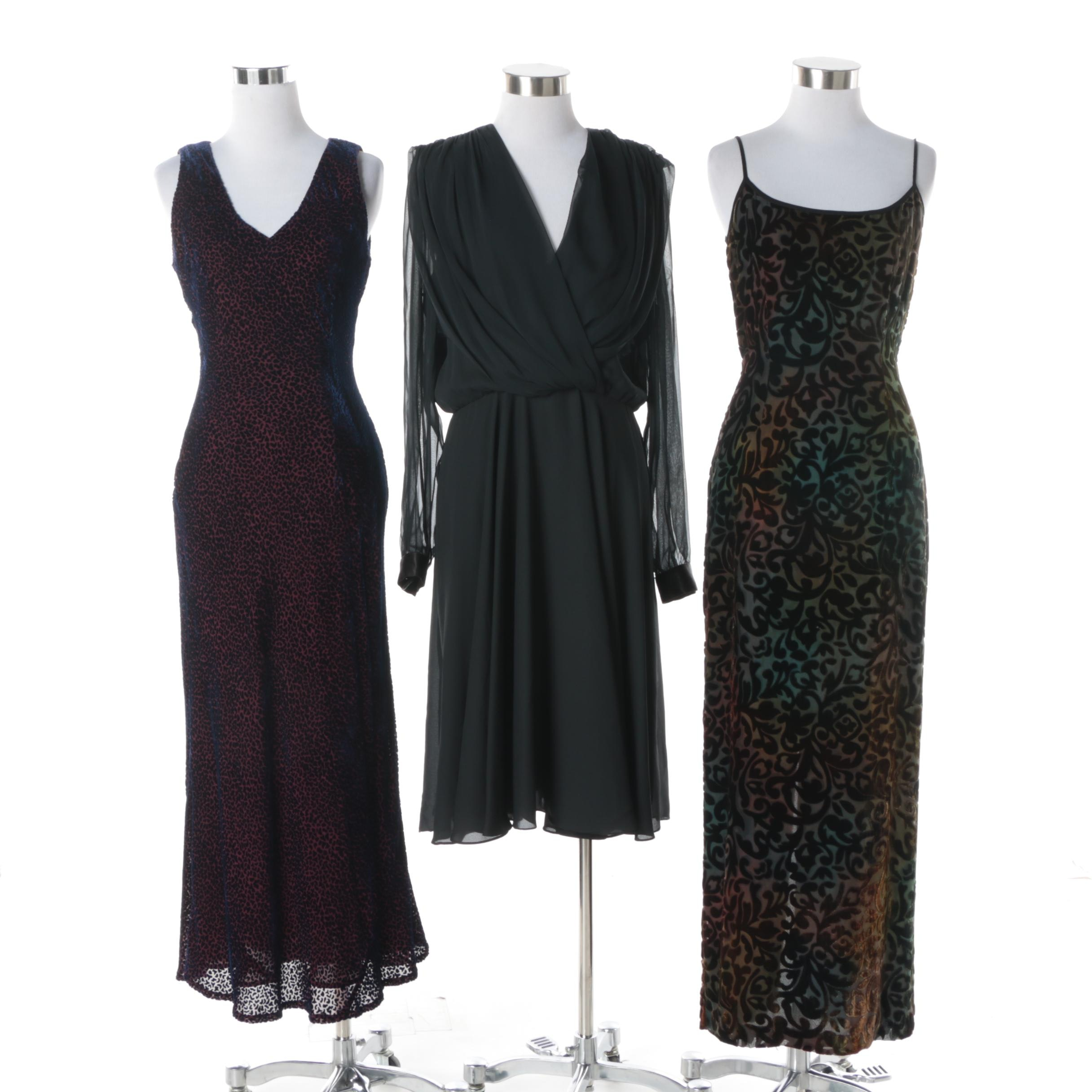 Cocktail Dresses featuring Black Velvet Devoré Maxi Dresses