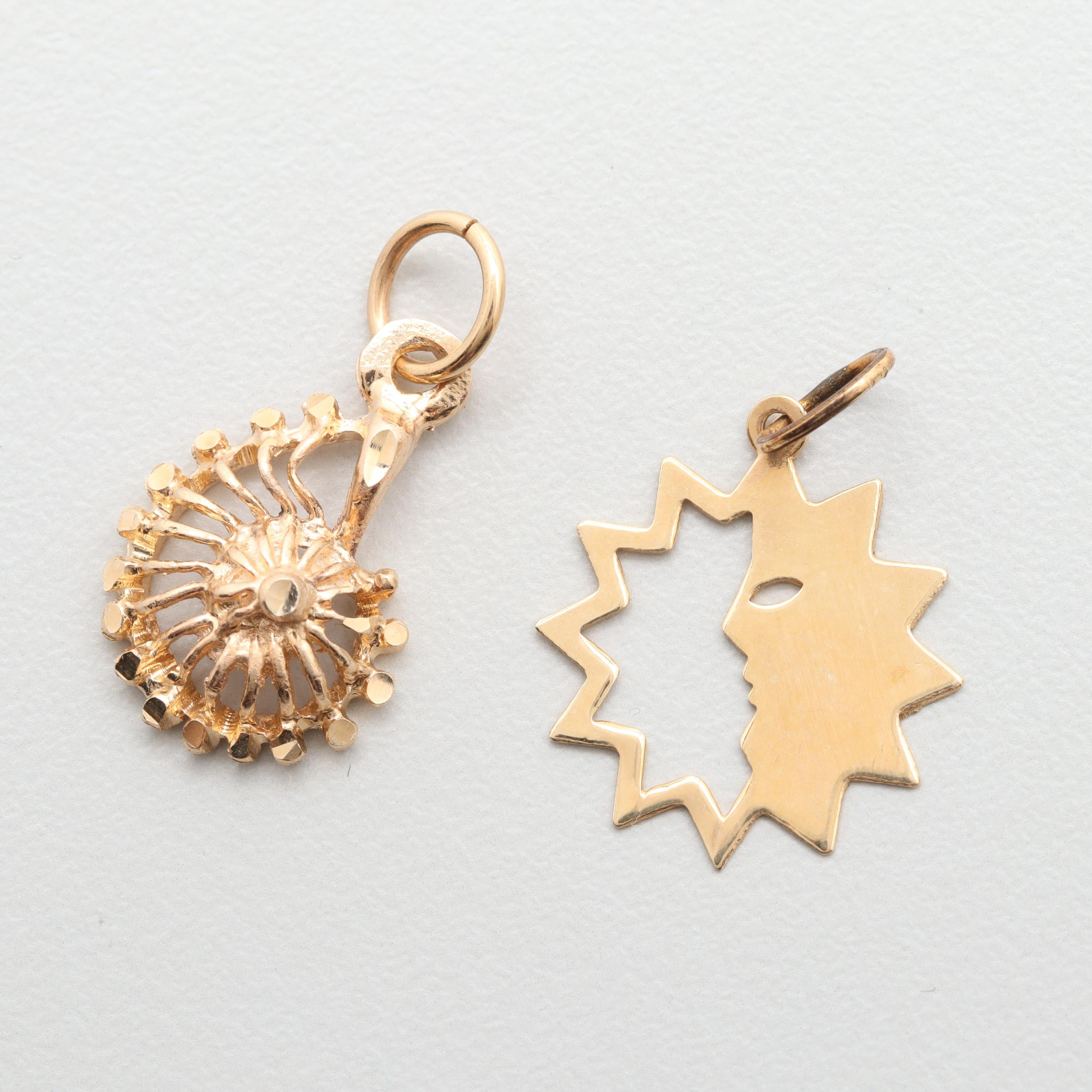 14K Yellow Gold Sun Face and Nautilus Shell Charms
