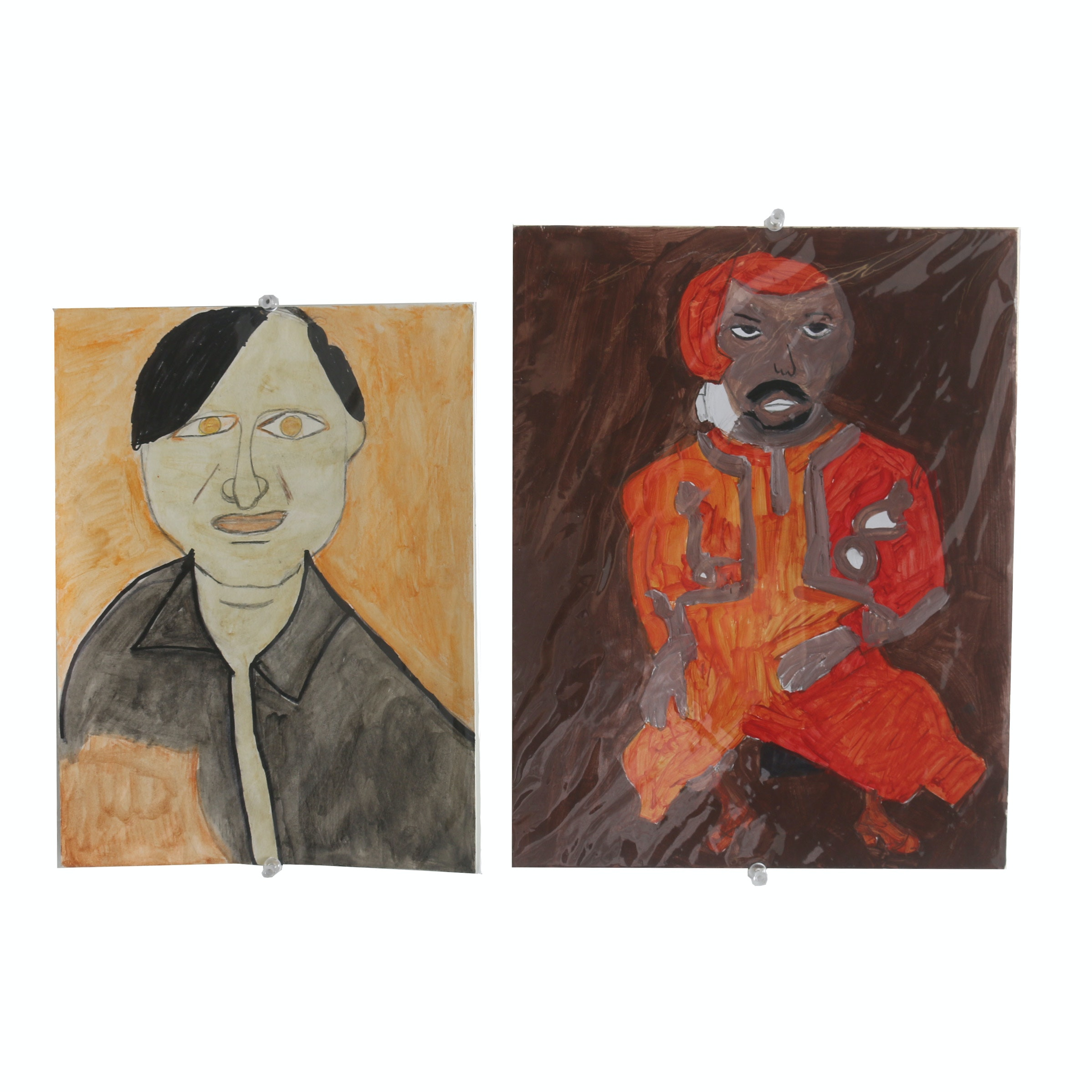 """Pair of Rosalind Bush Paintings """"Red Man Dancing"""" and """"Man with Yellow Eyes"""""""